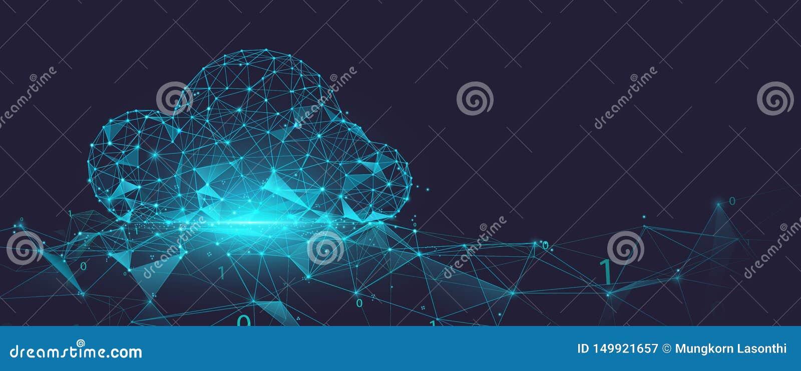 Δίκτυο αποθήκευσης σύννεφων στοιχείων από τις γραμμές, τα τρίγωνα και το σχέδιο ύφους μορίων