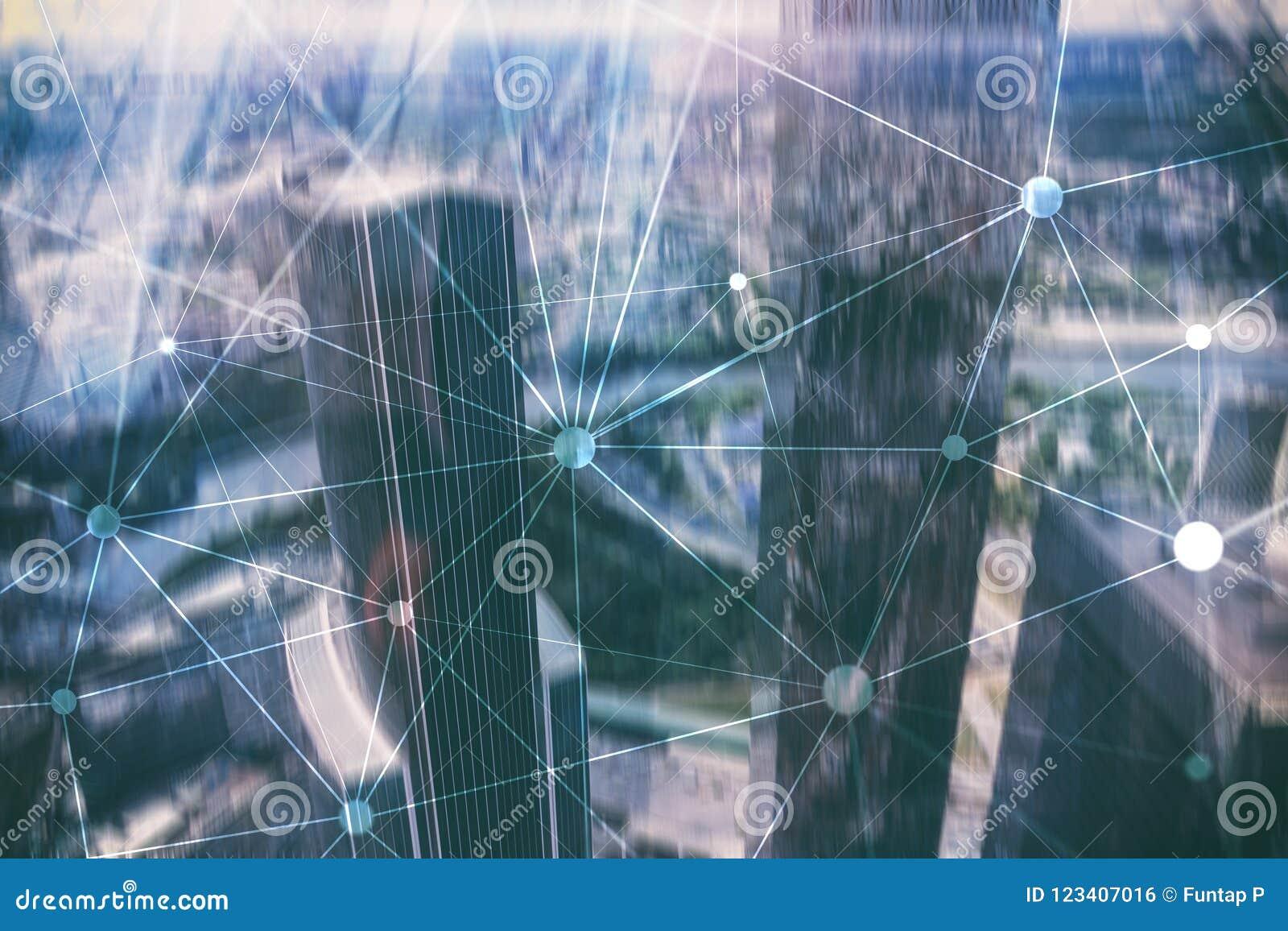 Δίκτυο Blockchain στο θολωμένο υπόβαθρο ουρανοξυστών Οικονομική έννοια τεχνολογίας και επικοινωνίας
