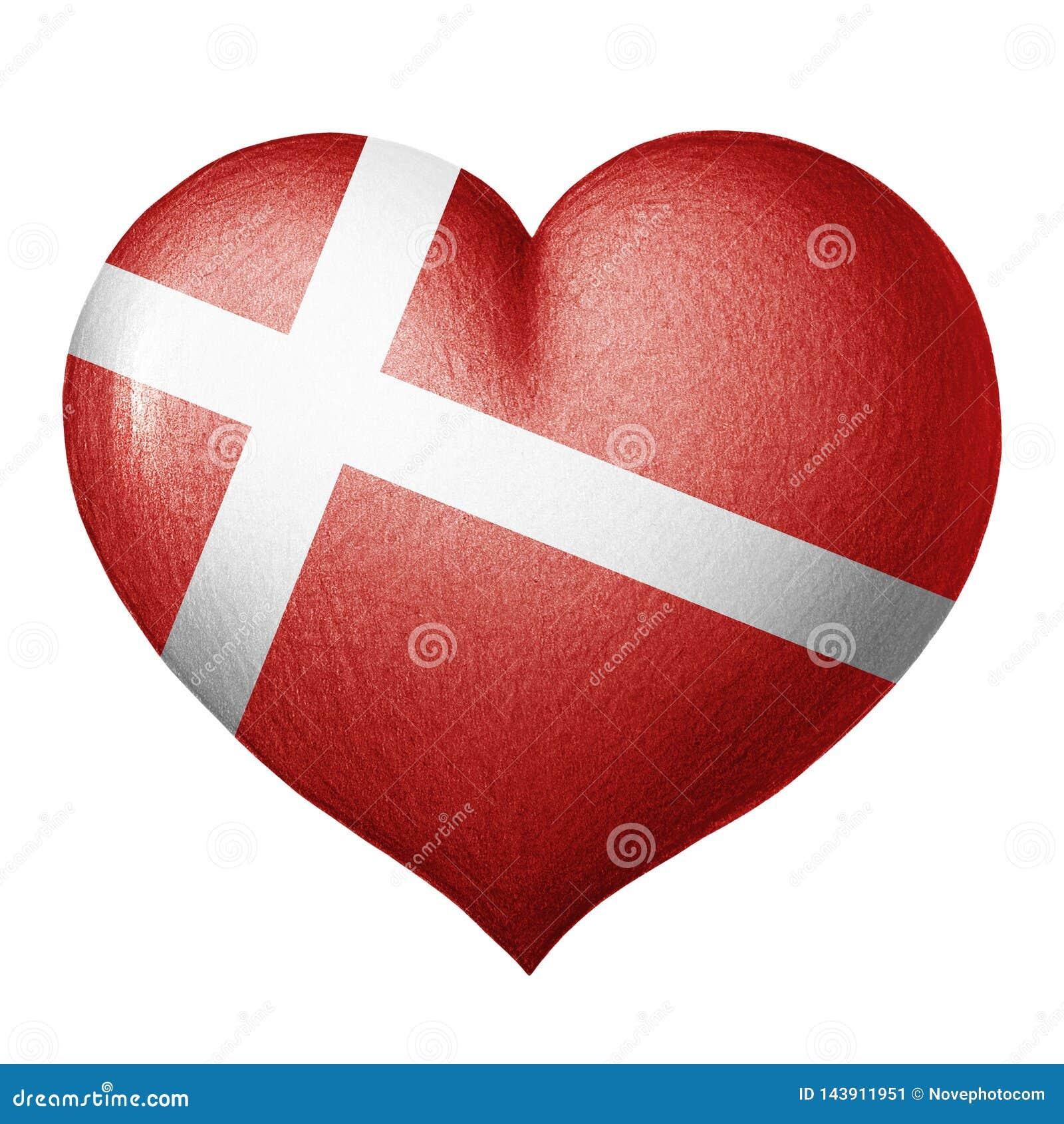 Δανική καρδιά σημαιών που απομονώνεται στο άσπρο υπόβαθρο λευκό δέντρων μολυβιών σχεδίων ανασκόπησης