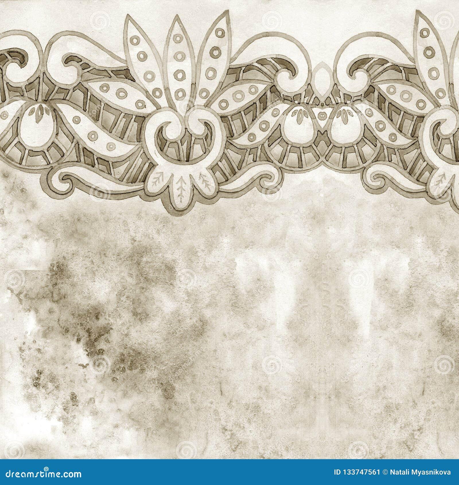 Δαντελλωτός κομψά σύνορα watercolor Δαντελλωτός εκλεκτής ποιότητας περιποίηση Το χέρι σύρει την απεικόνιση