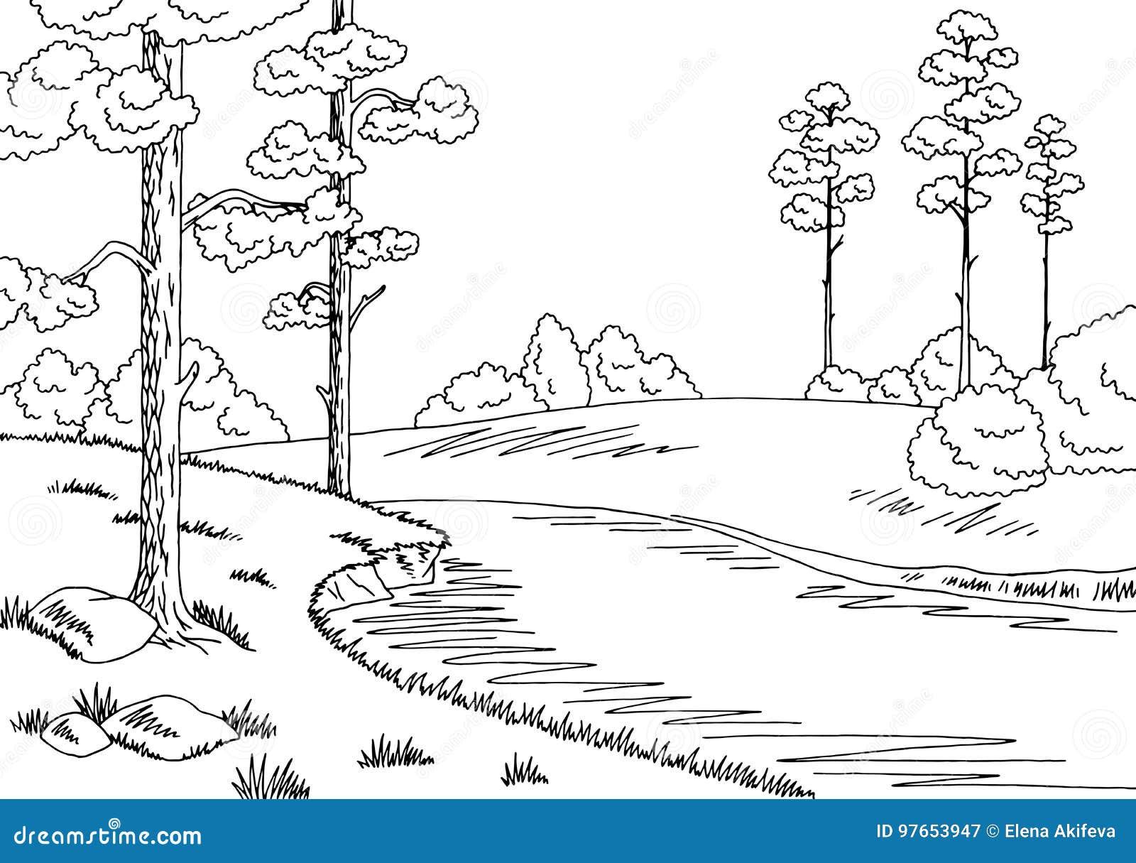 Δασική απεικόνιση σκίτσων τοπίων ποταμών γραφική μαύρη άσπρη