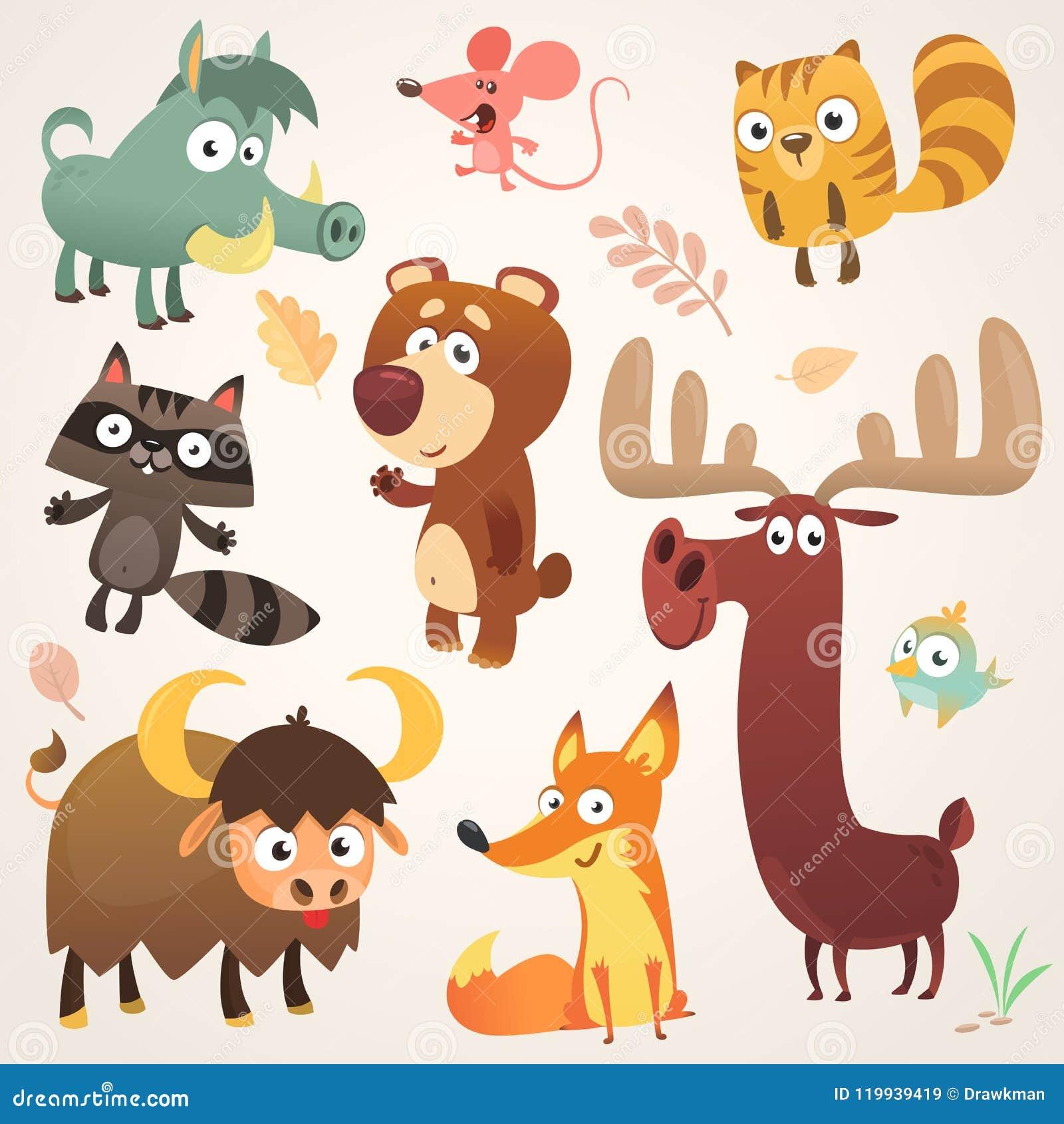 Δασικοί ζωικοί χαρακτήρες κινούμενων σχεδίων επίσης corel σύρετε το διάνυσμα απεικόνισης Μεγάλο σύνολο δασικής απεικόνισης ζώων κ