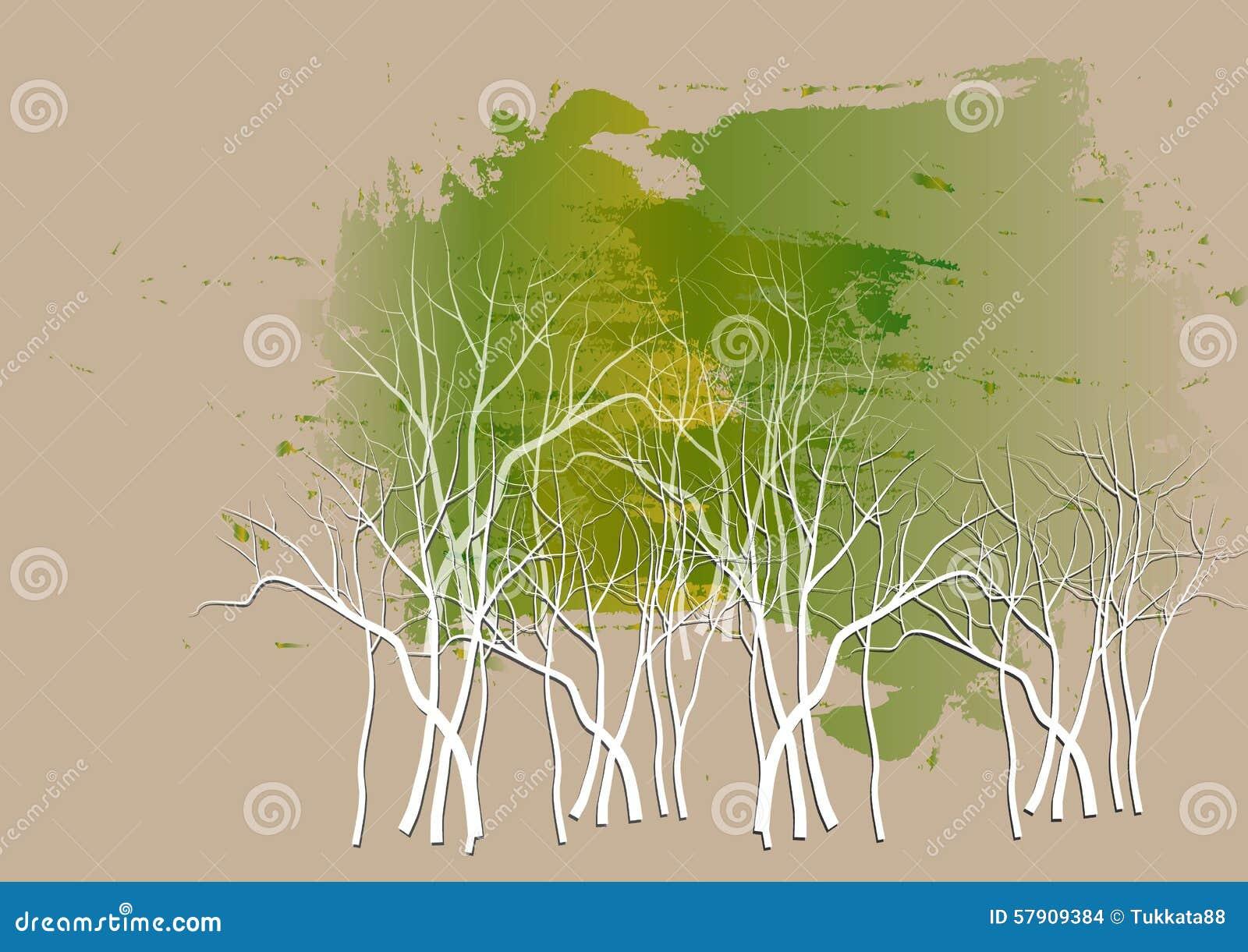 Δασικό υπόβαθρο, άσπρο υπόβαθρο watercolor περικοπών εγγράφου δέντρων, διανυσματική απεικόνιση
