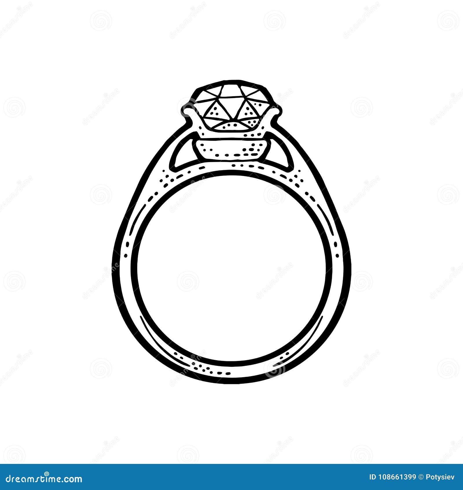 Δαχτυλίδι με το διαμάντι Εκλεκτής ποιότητας μαύρη διανυσματική απεικόνιση  χάραξης για την αφίσα 2d4bbd3e33f