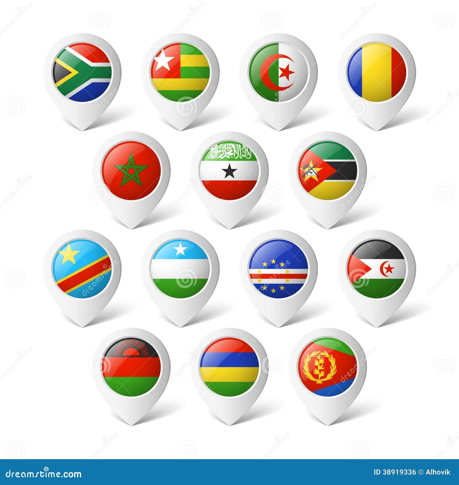 Δείκτες χαρτών με τις σημαίες. Αφρική.