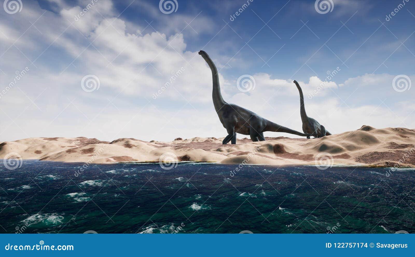 Δεινόσαυροι στην προϊστορική περίοδο στο τοπίο άμμου τρισδιάστατη απόδοση