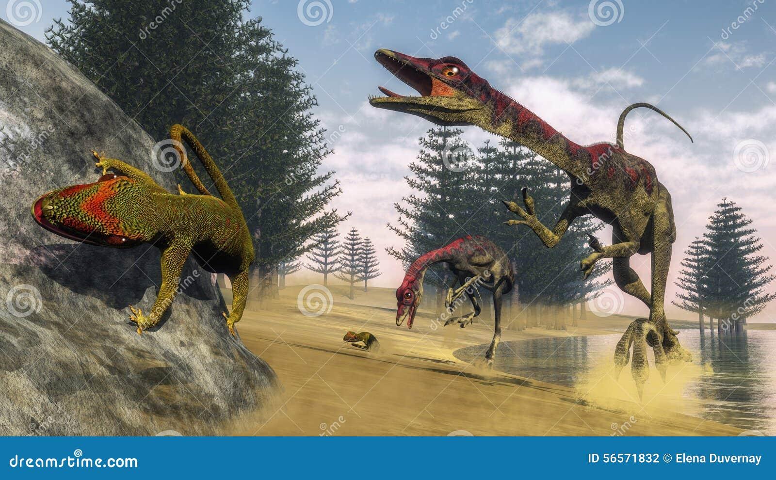 Download Δεινόσαυροι Compsognathus - τρισδιάστατοι δώστε Απεικόνιση αποθεμάτων - εικονογραφία από lagoon, σαύρα: 56571832