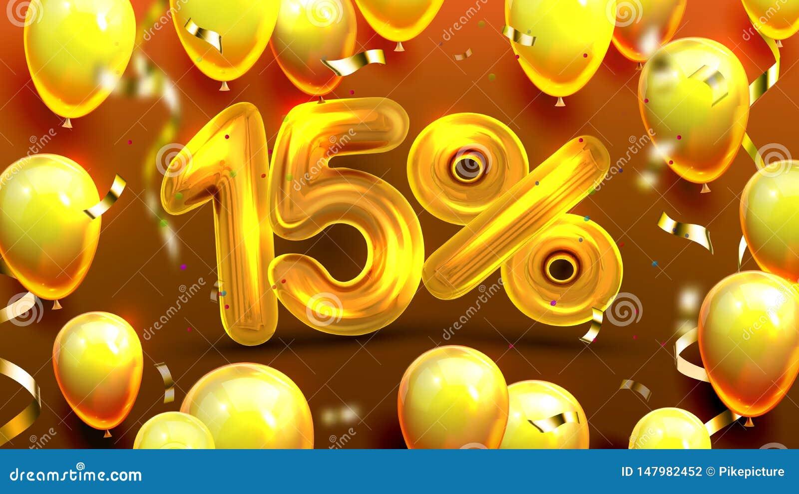 Δεκαπέντε τοις εκατό ή διάνυσμα προσφοράς μάρκετινγκ 15