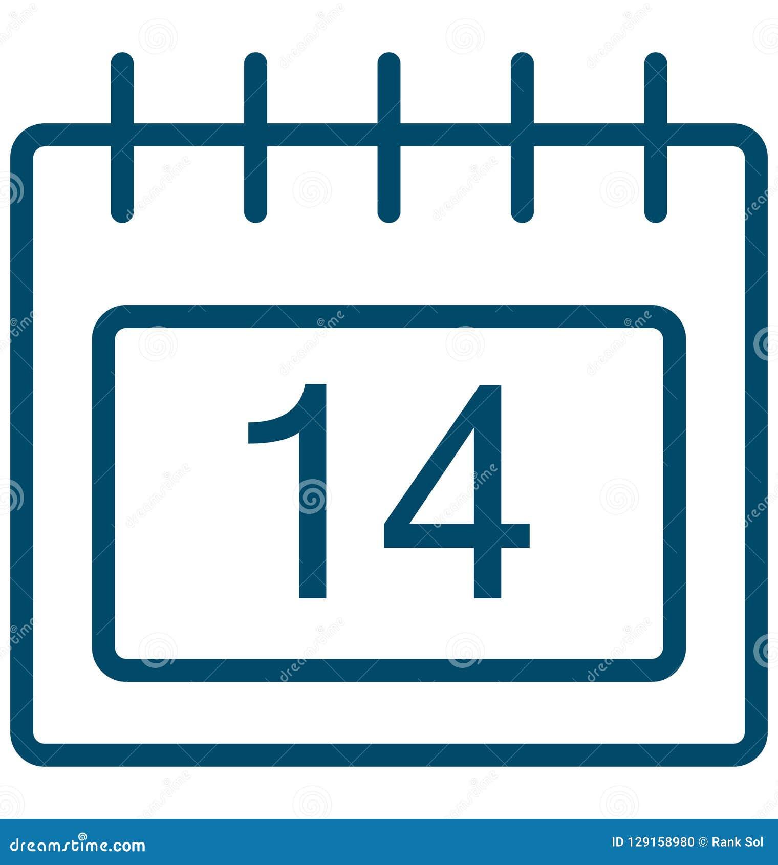 Δεκατέσσερα, ειδικό διανυσματικό εικονίδιο ημέρας γεγονότος δεκατέσσερα που μπορεί να τροποποιηθεί εύκολα ή να εκδώσει