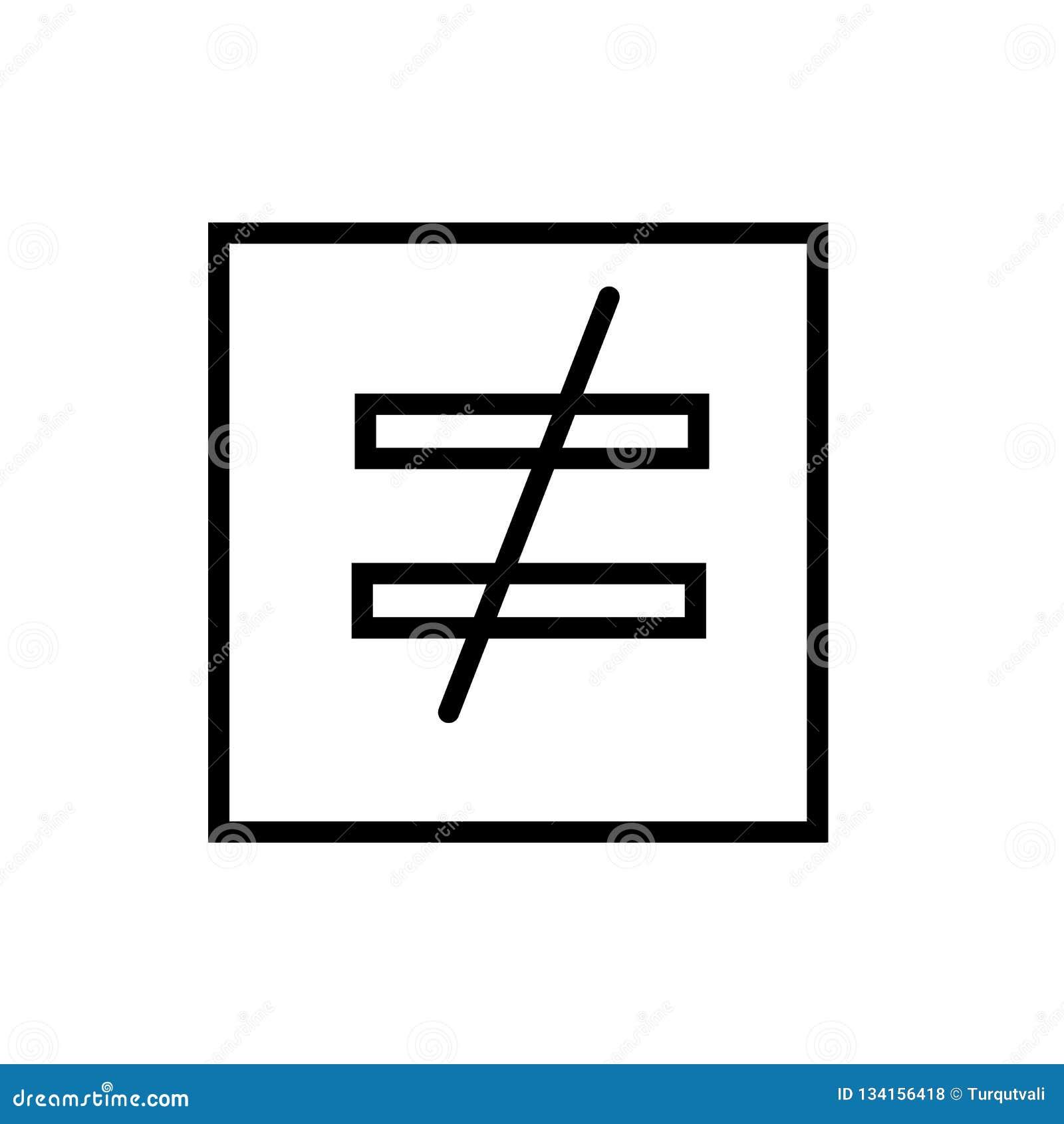 Δεν είναι ίσος με το διάνυσμα εικονιδίων που απομονώνεται στο άσπρο υπόβαθρο, δεν είναι ίσος με το σημάδι, γραμμή και περιγράφει
