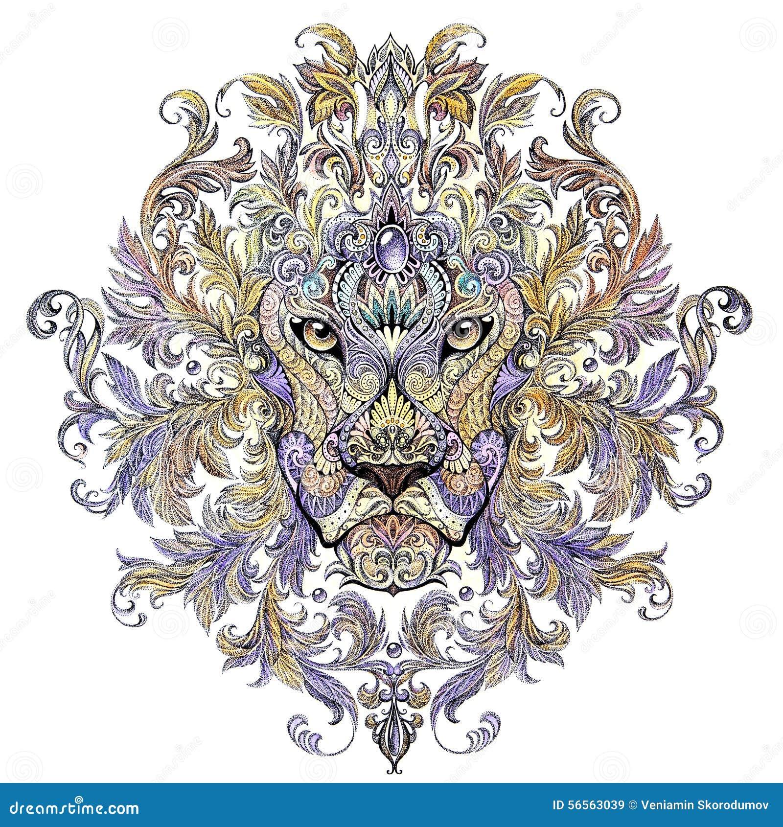 Download Δερματοστιξία, κεφάλι γραφικής παράστασης ενός λιονταριού με έναν Μάιν Απεικόνιση αποθεμάτων - εικονογραφία από κυνηγός, λιοντάρι: 56563039