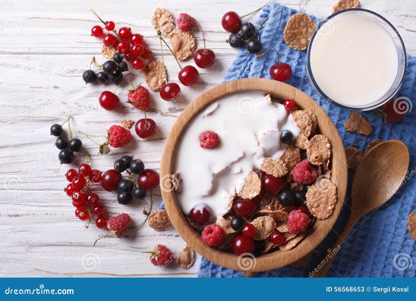 Download Δημητριακά με το γάλα και τη φρέσκια οριζόντια τοπ άποψη μούρων Στοκ Εικόνα - εικόνα από διακοπής, τρόφιμα: 56568653