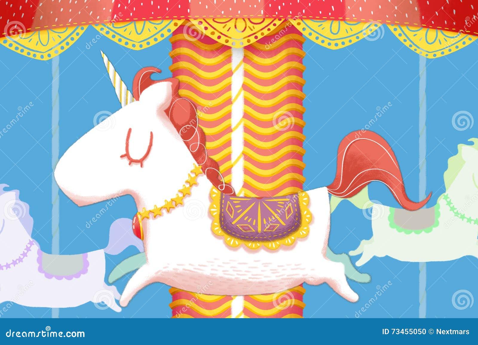 Δημιουργική απεικόνιση και καινοτόμος τέχνη: Ο μονόκερος εύθυμος πηγαίνει γύρω από τα ξύλινα άλογα