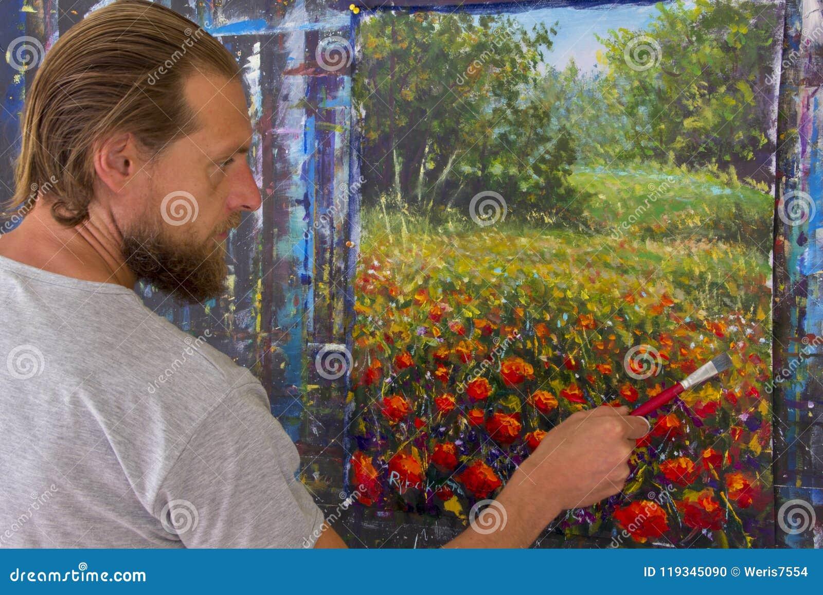 Δημιουργική διαδικασία τέχνης Ο καλλιτέχνης δημιουργεί τη ζωγραφική στον καμβά