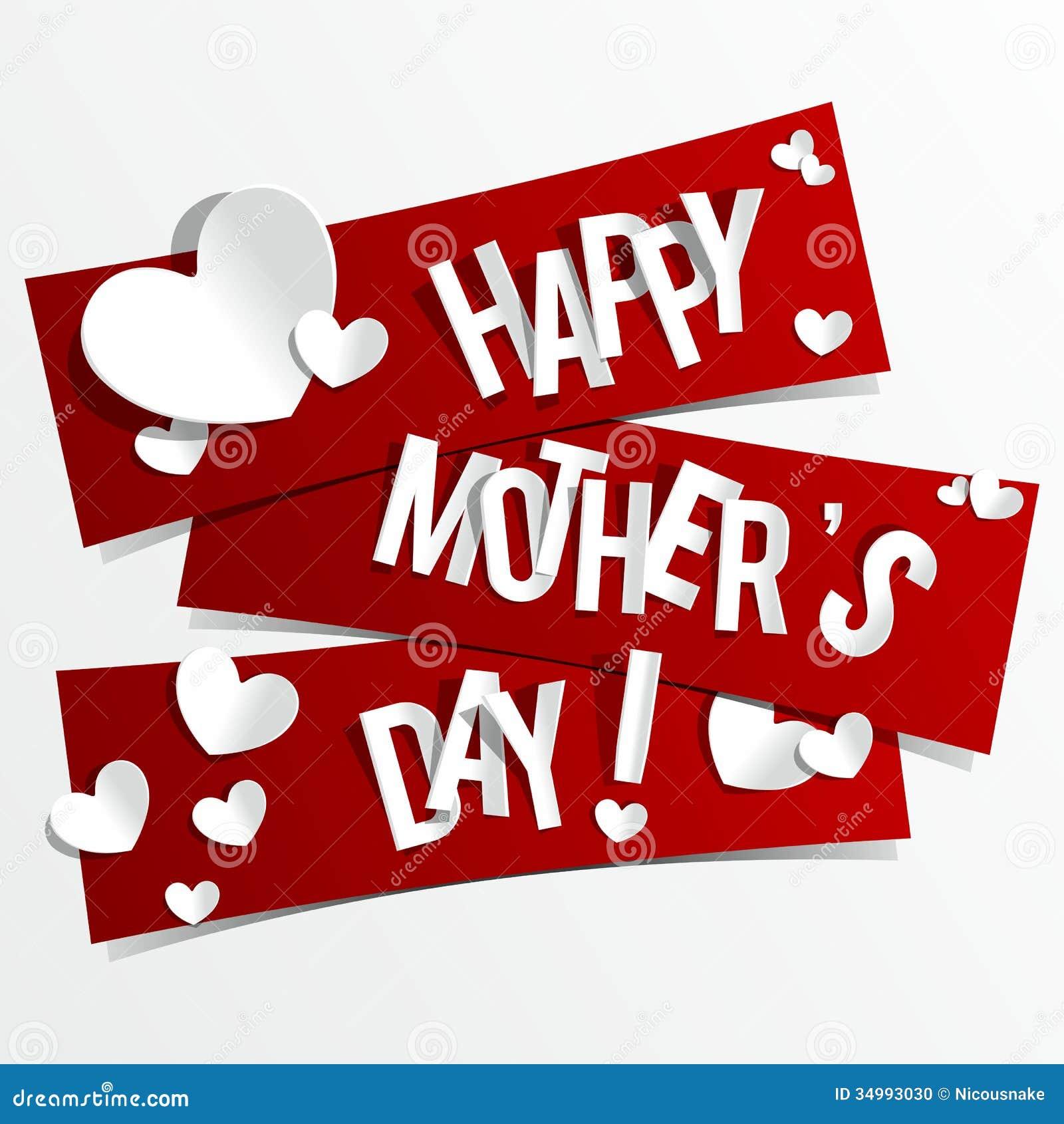 Δημιουργική ευτυχής κάρτα ημέρας μητέρων με τις καρδιές στο πλευρό