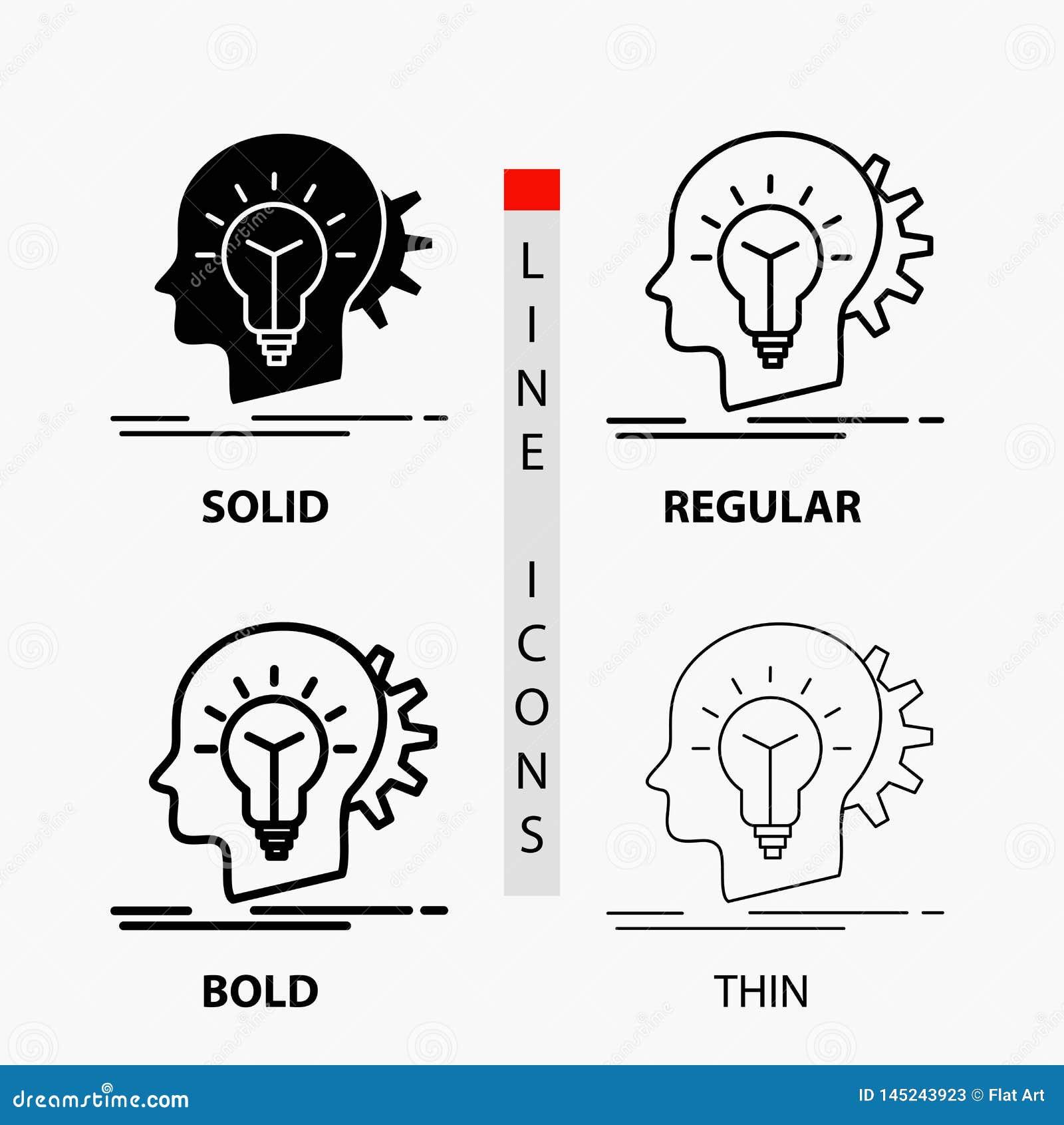 δημιουργικός, δημιουργικότητα, κεφάλι, ιδέα, εικονίδιο σκέψης στη λεπτά, κανονικά, τολμηρά γραμμή και το ύφος Glyph r