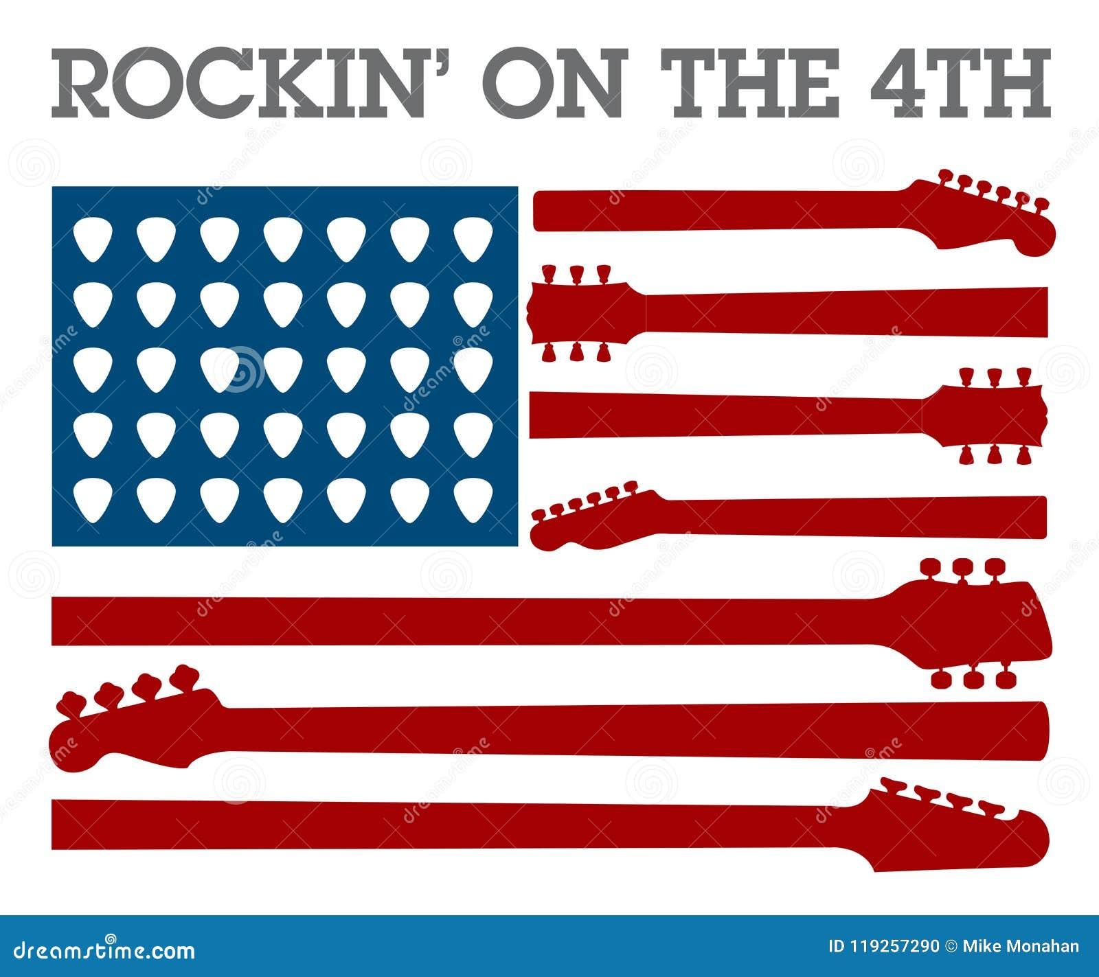 Δημιουργικός 4ος της αφίσας μουσικής ροκ Ιουλίου