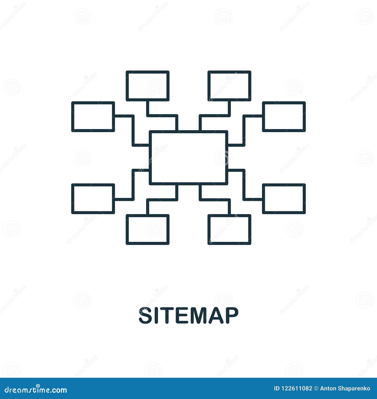 Δημιουργικό εικονίδιο Sitemap Απλή απεικόνιση στοιχείων Σχέδιο συμβόλων έννοιας Sitemap από τη συλλογή seo Τελειοποιήστε για το σ