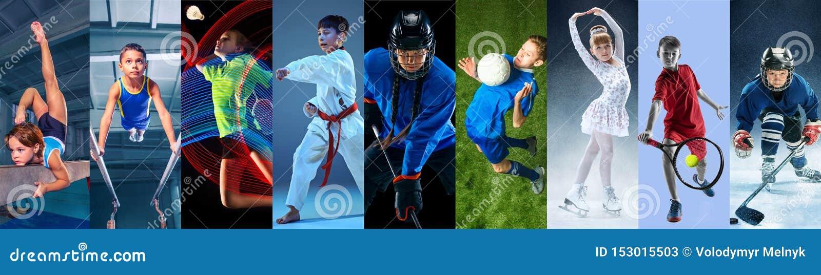 Δημιουργικό κολάζ που γίνεται με τα διαφορετικά είδη αθλητισμού