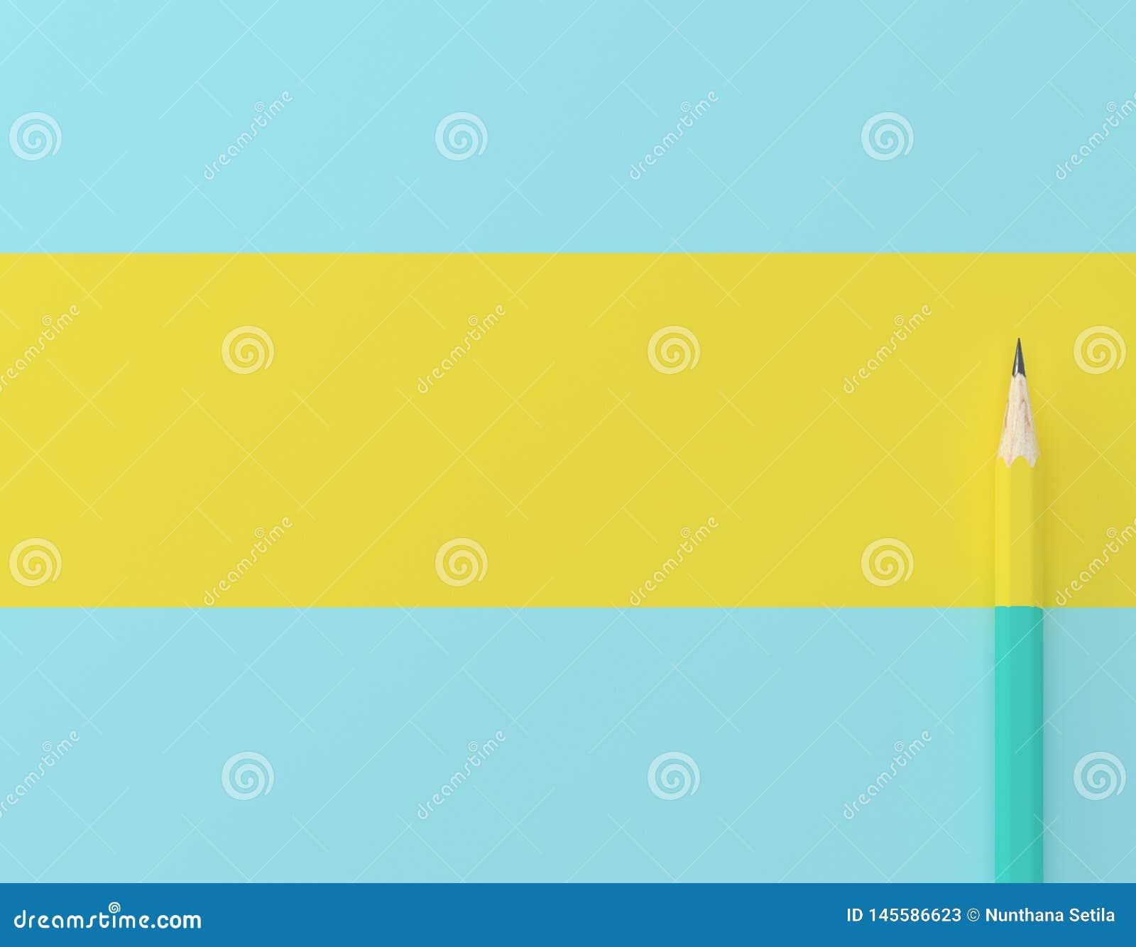 Δημιουργικό σχεδιάγραμμα ιδέας φιαγμένο από κίτρινο μολυβιών υπόβαθρο κρητιδογραφιών αντίθεσης μπλε Ελάχιστο πρότυπο με το διάστη