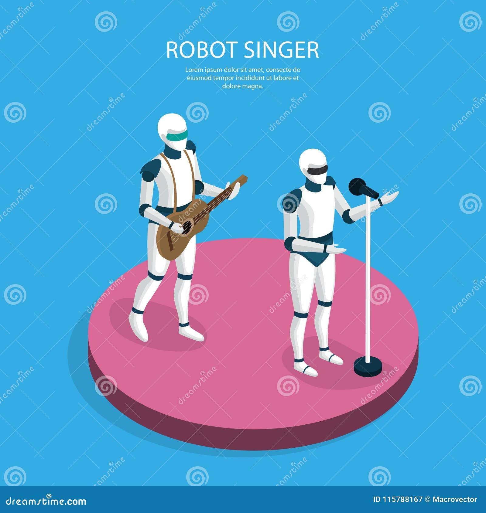 Δημιουργικό Isometric υπόβαθρο ρομπότ