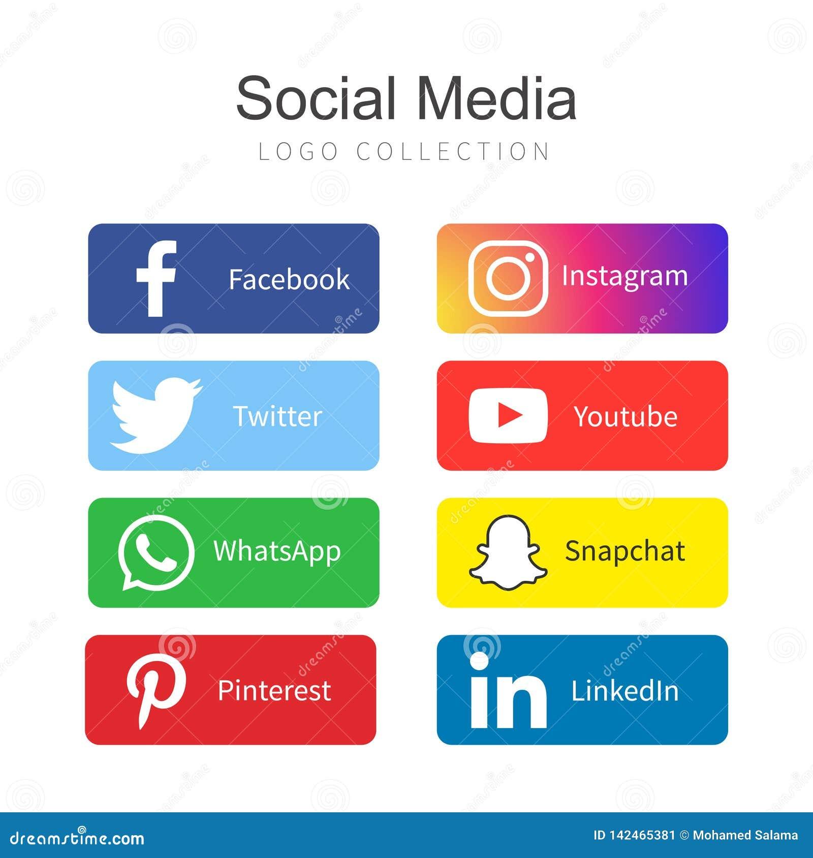 Δημοφιλής κοινωνική συλλογή λογότυπων MEDIA