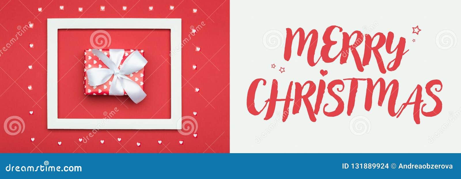 διάνυσμα απεικόνισης Χριστουγέννων eps10 εμβλημάτων Κόκκινο και άσπρο εορταστικό σκηνικό χειμερινών διακοπών Υπέροχα τυλιγμένο χρ