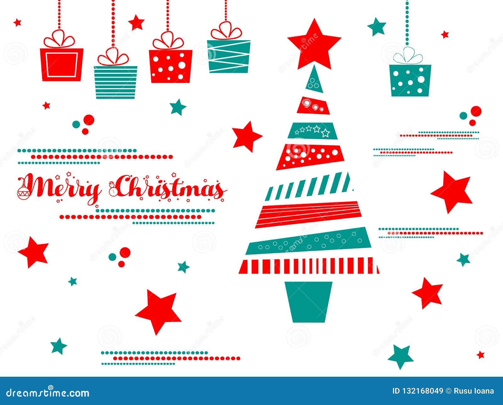 διάνυσμα δέντρων απεικόνισης δώρων Χριστουγέννων