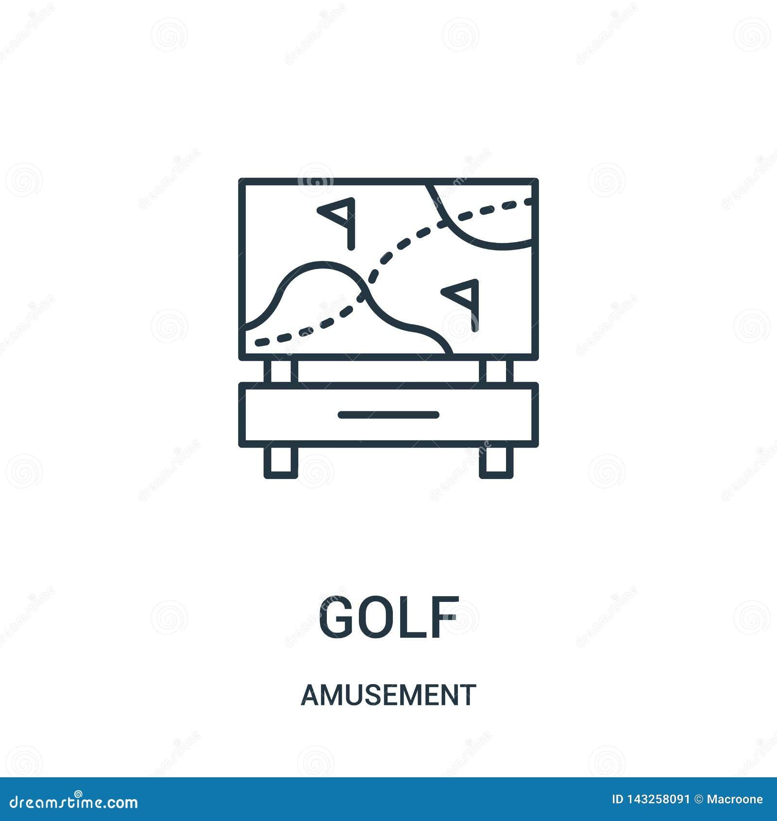 διάνυσμα εικονιδίων γκολφ από τη συλλογή διασκέδασης Λεπτή διανυσματική απεικόνιση εικονιδίων περιλήψεων γκολφ γραμμών