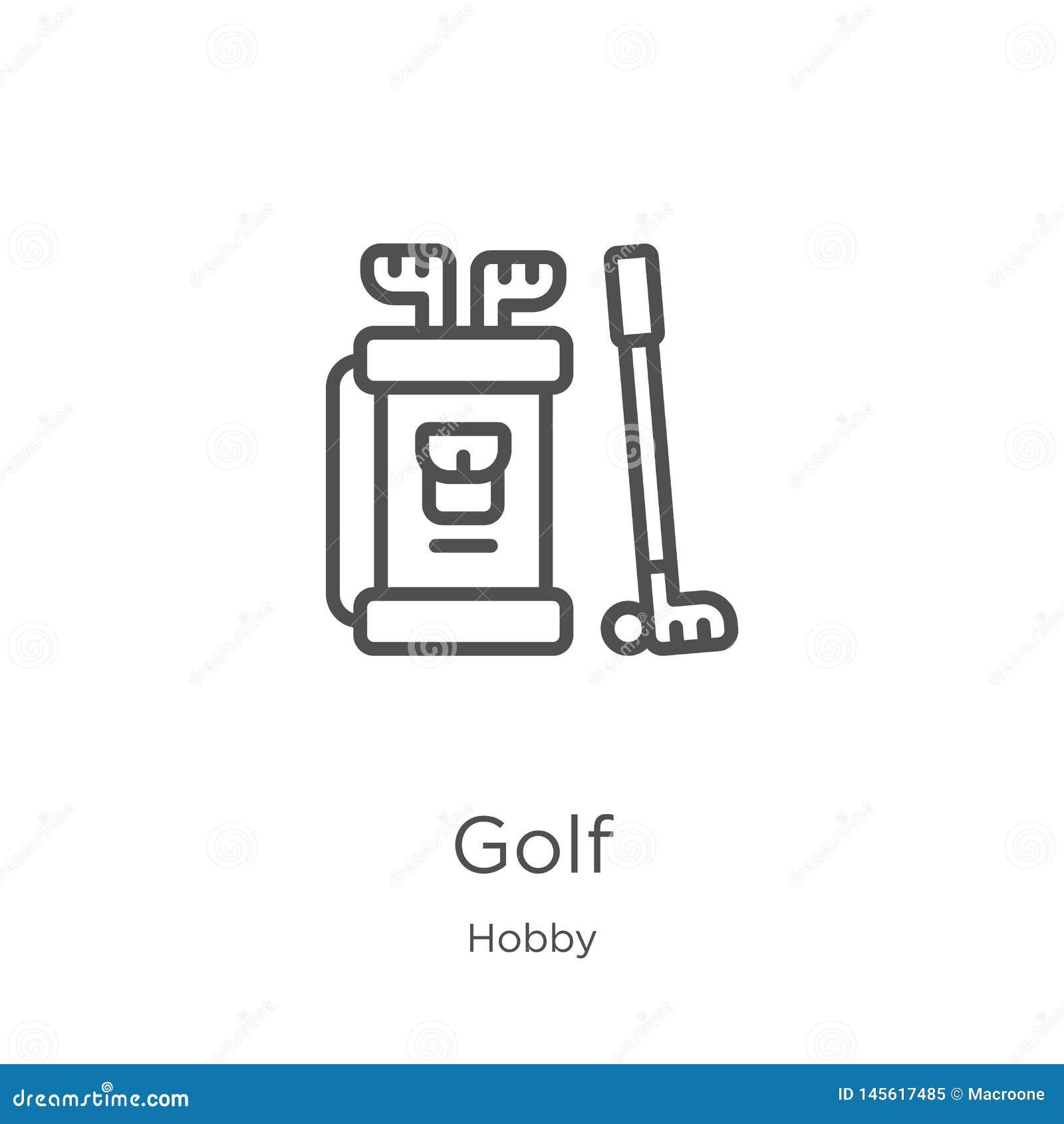 διάνυσμα εικονιδίων γκολφ από τη συλλογή χόμπι Λεπτή διανυσματική απεικόνιση εικονιδίων περιλήψεων γκολφ γραμμών Περίληψη, λεπτό