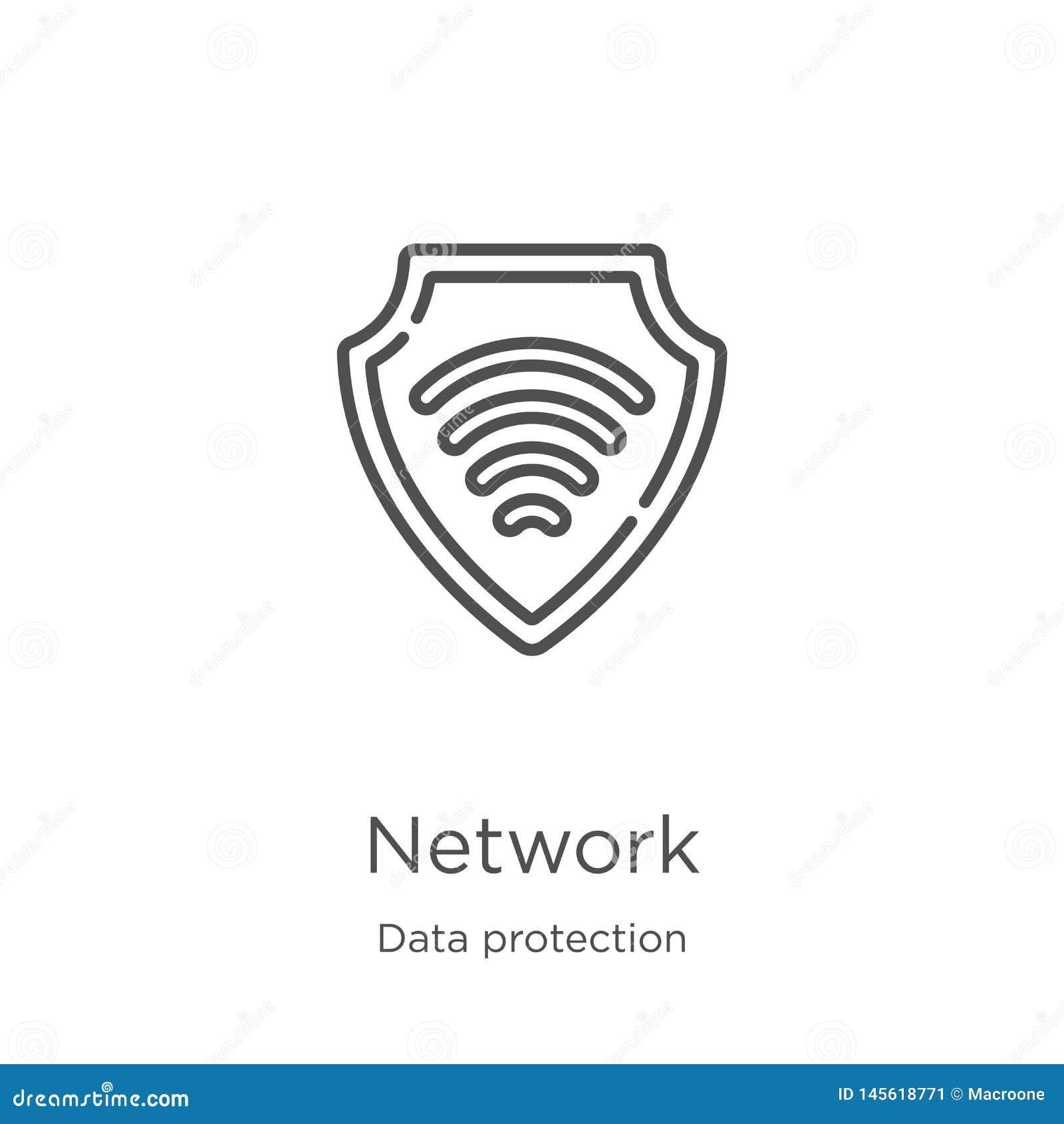 διάνυσμα εικονιδίων δικτύων από τη συλλογή προστασίας δεδομένων Λεπτή διανυσματική απεικόνιση εικονιδίων περιλήψεων δικτύων γραμμ