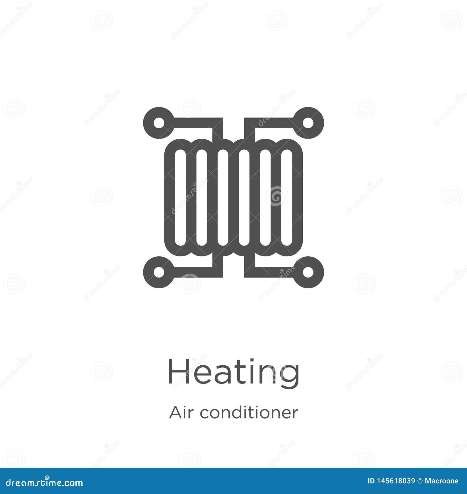 διάνυσμα εικονιδίων θέρμανσης από τη συλλογή κλιματιστικών μηχανημάτων Λεπτή διανυσματική απεικόνιση εικονιδίων περιλήψεων θέρμαν