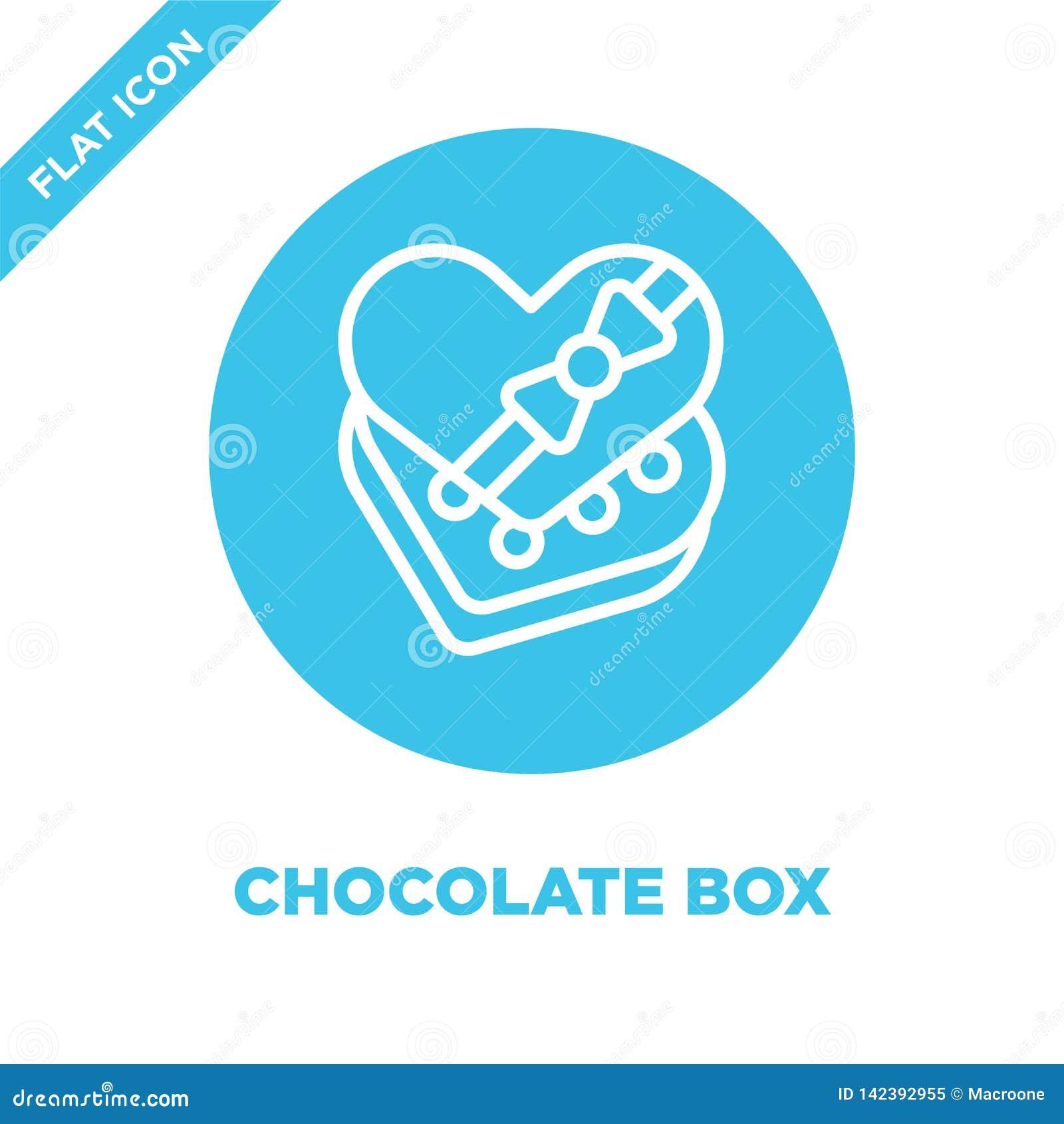 διάνυσμα εικονιδίων κιβωτίων σοκολάτας από τη συλλογή αγάπης Λεπτή διανυσματική απεικόνιση εικονιδίων περιλήψεων κιβωτίων σοκολάτ