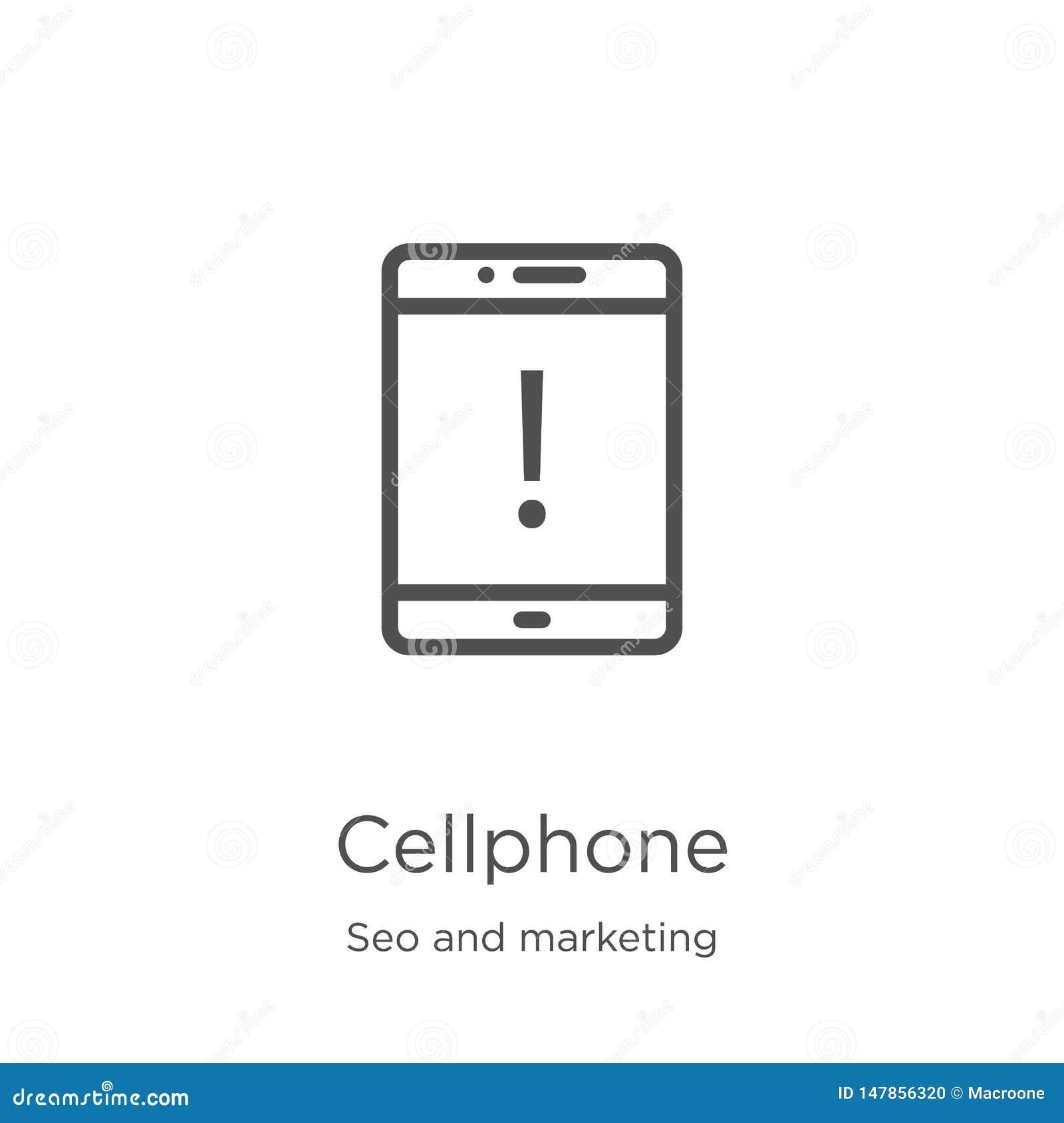 διάνυσμα εικονιδίων κινητών τηλεφώνων από τη συλλογή seo και μάρκετινγκ Λεπτή διανυσματική απεικόνιση εικονιδίων περιλήψεων κινητ