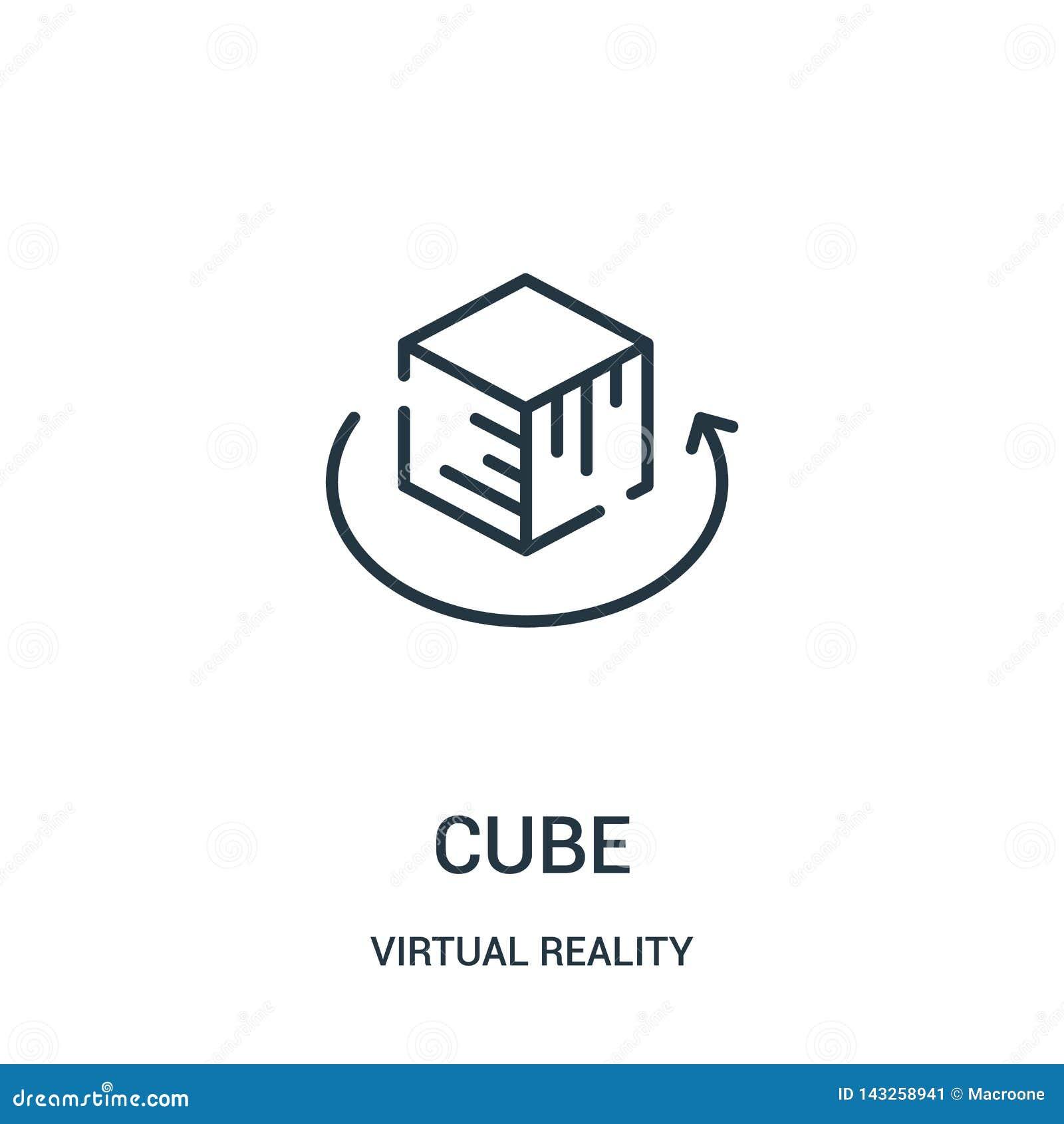 διάνυσμα εικονιδίων κύβων από τη συλλογή εικονικής πραγματικότητας Λεπτή διανυσματική απεικόνιση εικονιδίων περιλήψεων κύβων γραμ