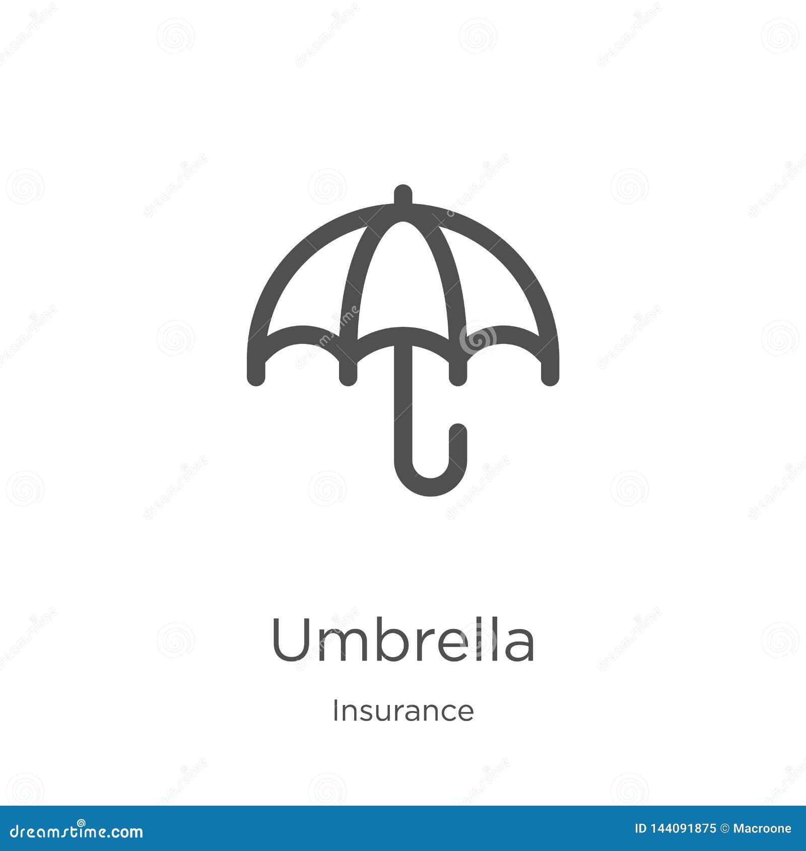 διάνυσμα εικονιδίων ομπρελών από την ασφαλιστική συλλογή Λεπτή διανυσματική απεικόνιση εικονιδίων περιλήψεων ομπρελών γραμμών Περ
