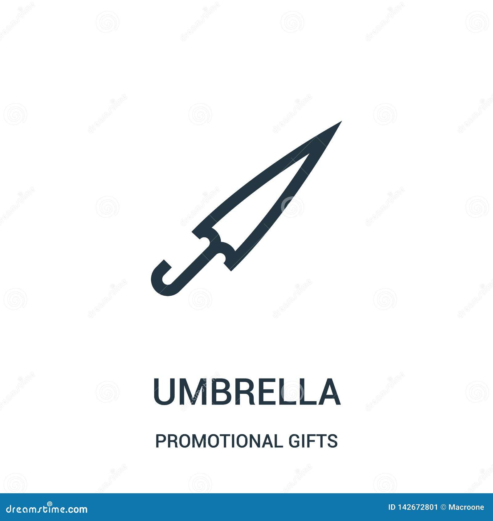 διάνυσμα εικονιδίων ομπρελών από την προωθητική συλλογή δώρων Λεπτή διανυσματική απεικόνιση εικονιδίων περιλήψεων ομπρελών γραμμώ
