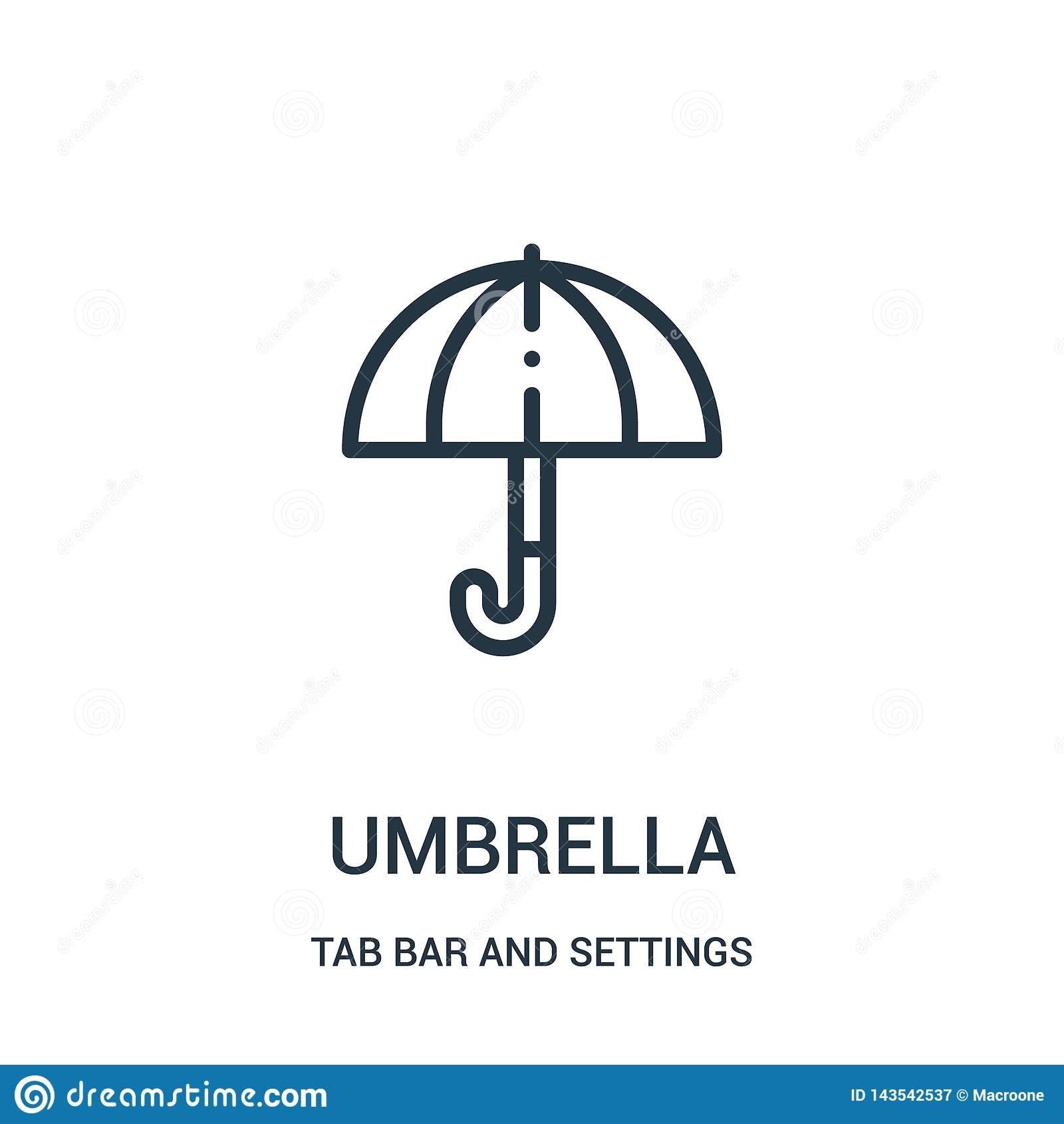 διάνυσμα εικονιδίων ομπρελών από το φραγμό ετικεττών και τη συλλογή τοποθετήσεων Λεπτή διανυσματική απεικόνιση εικονιδίων περιλήψ