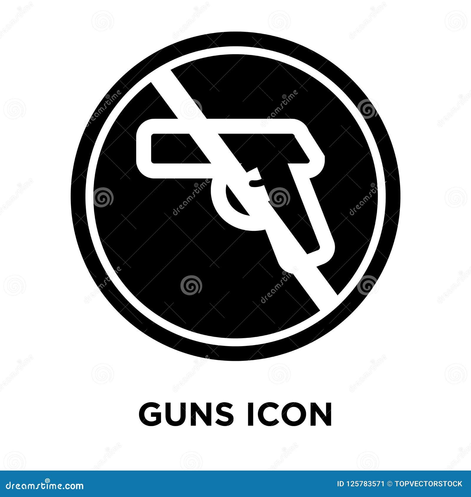 Διάνυσμα εικονιδίων πυροβόλων όπλων που απομονώνεται στο άσπρο υπόβαθρο, έννοια λογότυπων του Γ