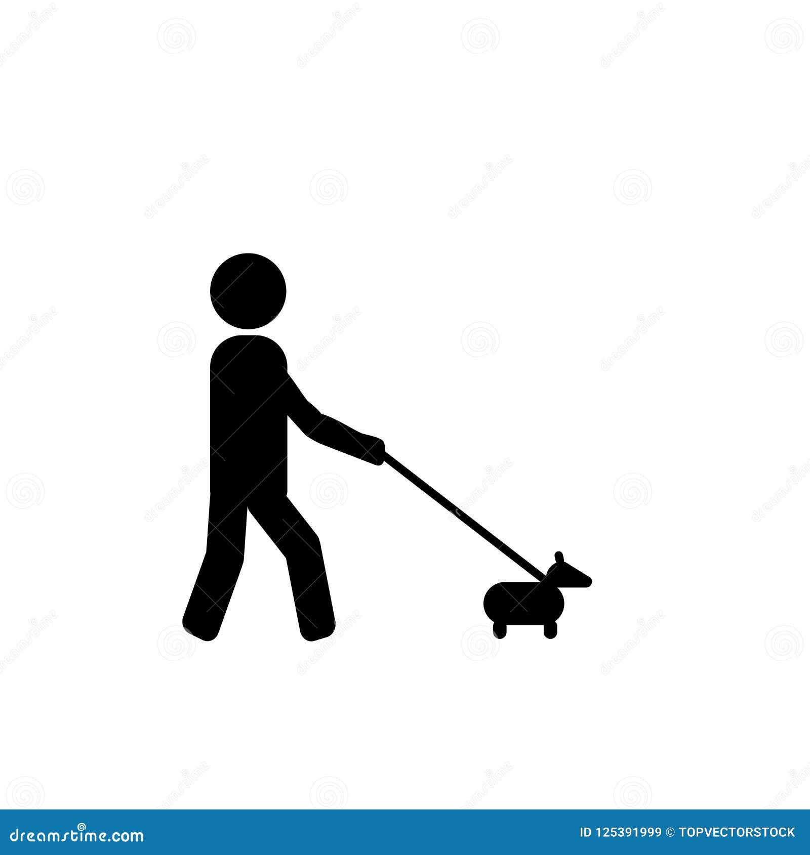 Διάνυσμα εικονιδίων σημαδιών σκυλιών περπατήματος που απομονώνεται στο άσπρο υπόβαθρο, Walki
