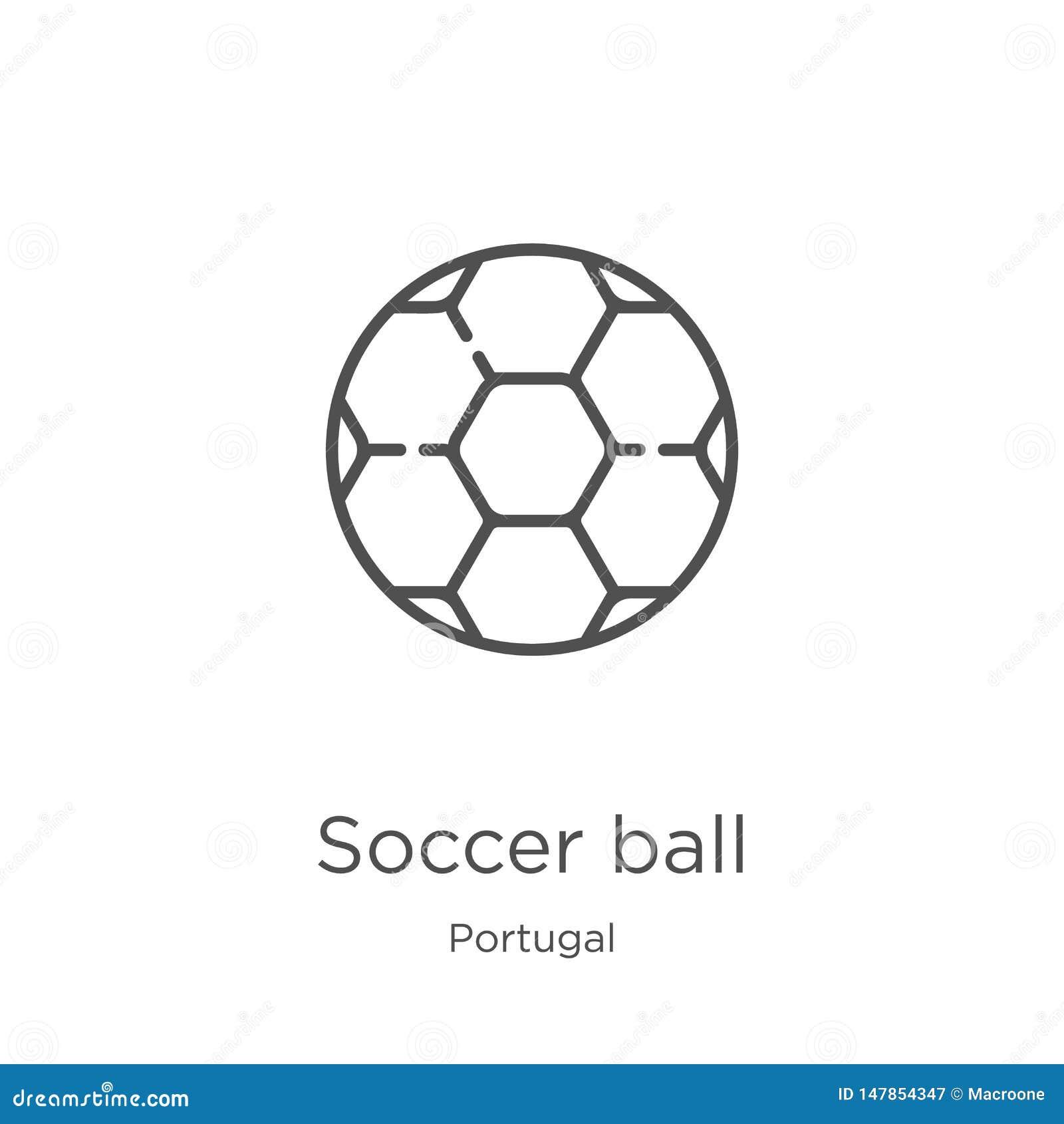 διάνυσμα εικονιδίων σφαιρών ποδοσφαίρου από τη συλλογή της Πορτογαλίας Λεπτή διανυσματική απεικόνιση εικονιδίων περιλήψεων σφαιρώ