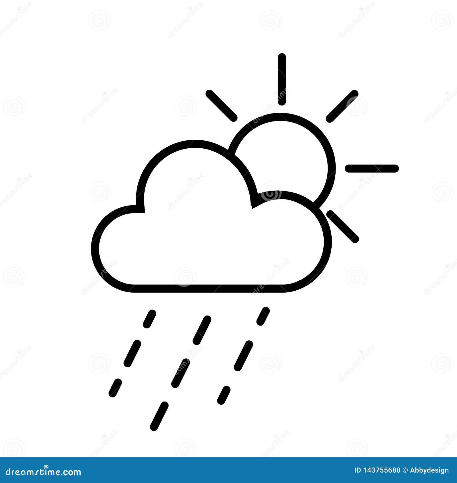 Διάνυσμα εικονιδίων σύννεφων ήλιων και βροχής