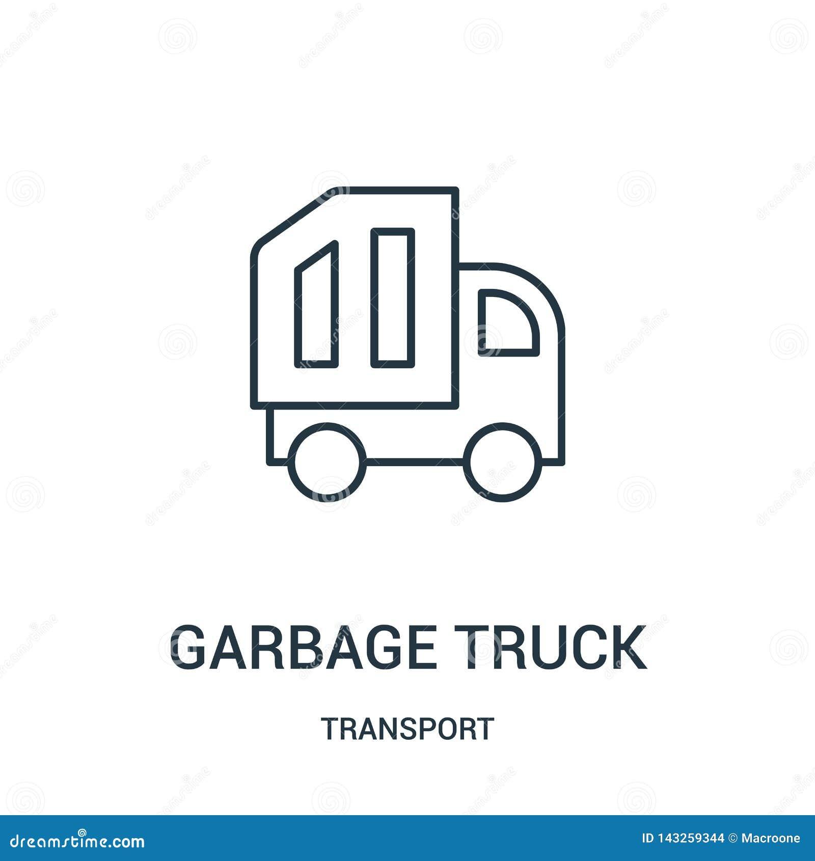 διάνυσμα εικονιδίων φορτηγών απορριμάτων από τη συλλογή μεταφορών Λεπτή διανυσματική απεικόνιση εικονιδίων περιλήψεων φορτηγών απ