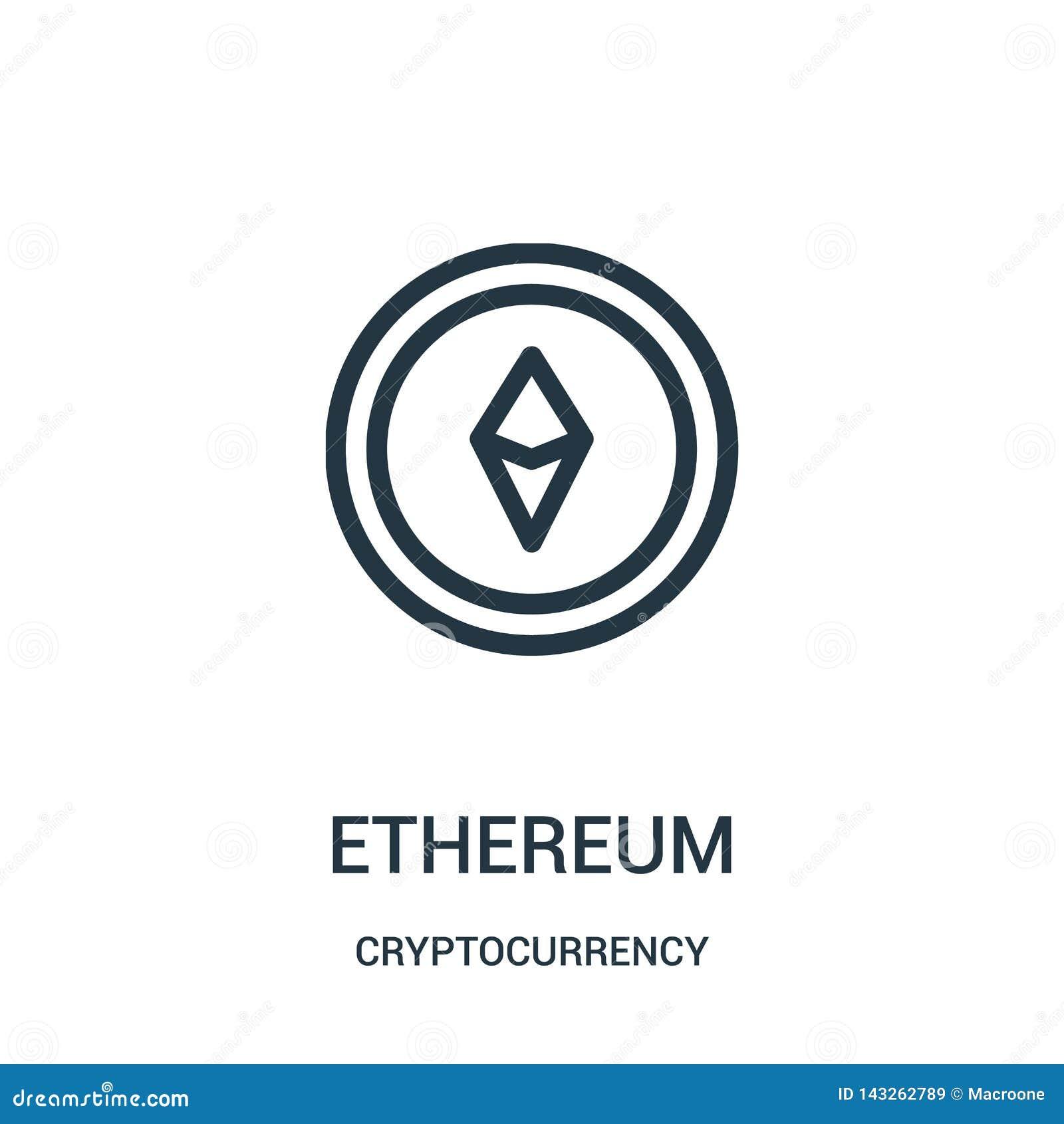διάνυσμα εικονιδίων ethereum από τη συλλογή cryptocurrency Λεπτή διανυσματική απεικόνιση εικονιδίων περιλήψεων ethereum γραμμών