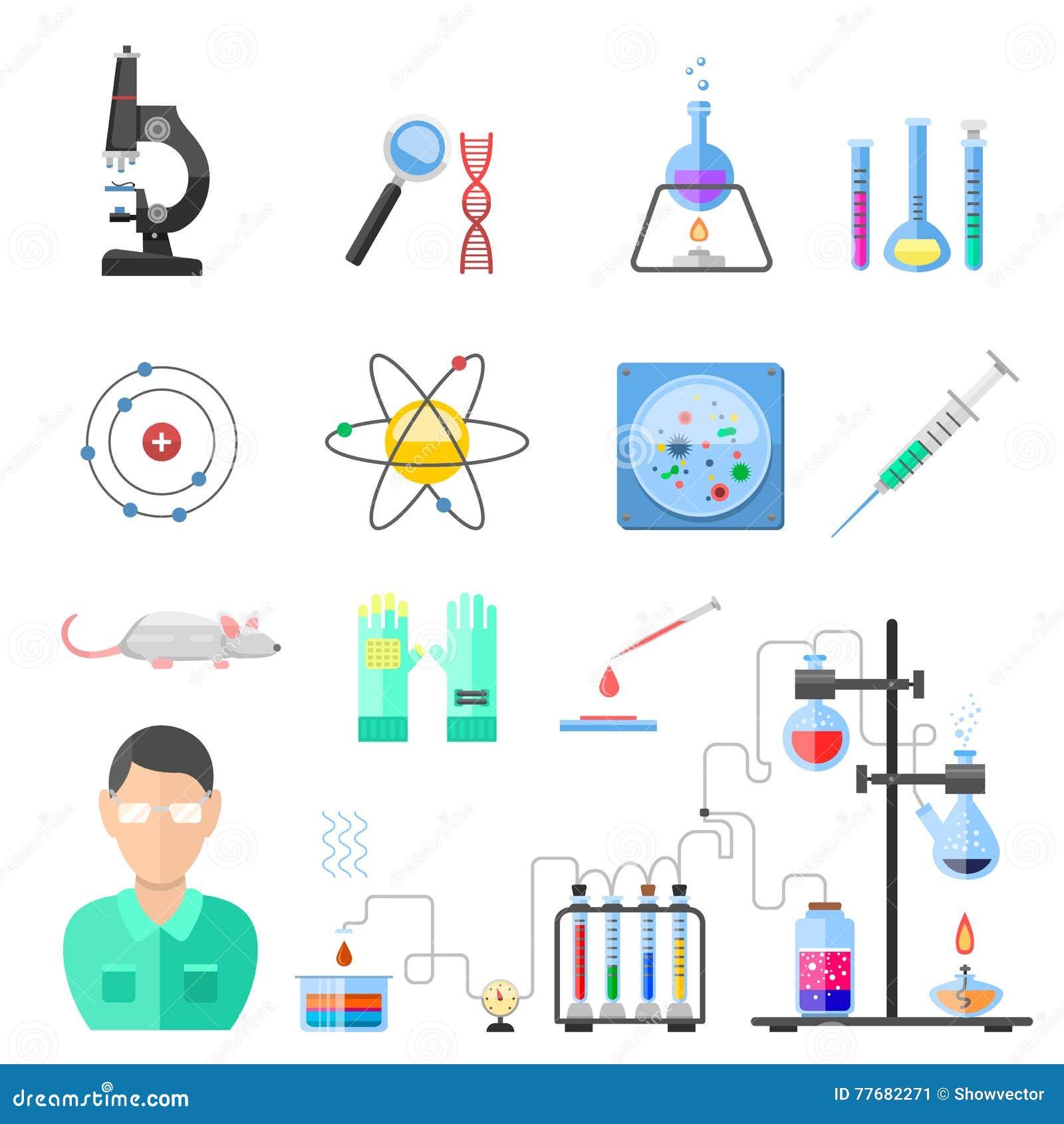 Διάνυσμα εικονιδίων χημείας εργαστηριακών συμβόλων