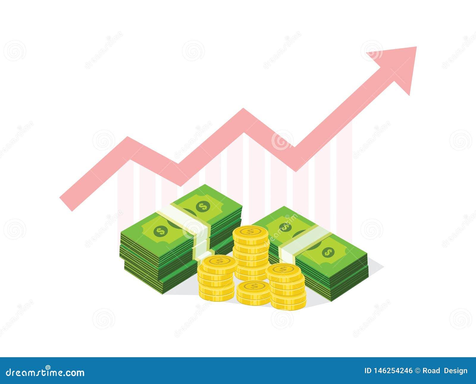 Διάνυσμα επιχειρησιακών εικονιδίων για την οικονομική γραφική παράσταση χρημάτων έννοιας επιτυχίας
