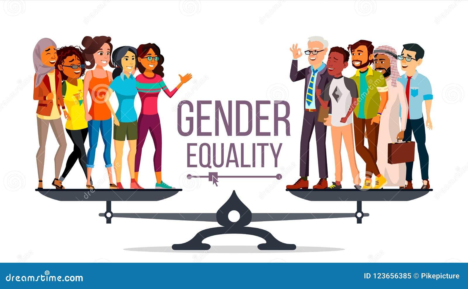 Διάνυσμα ισότητας φίλων Άνδρας, γυναίκα, αρσενικό, θηλυκό στις κλίμακες Ίση ευκαιρία Απομονωμένη επίπεδη απεικόνιση κινούμενων σχ