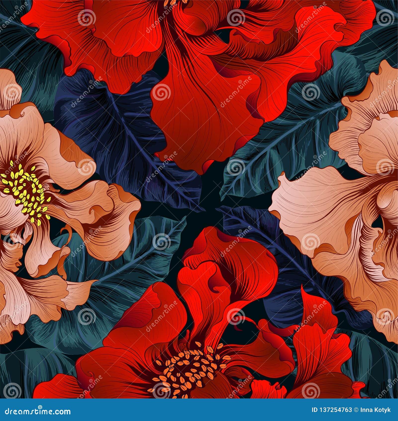 διάνυσμα Λουλούδια φαντασίας - διακοσμητική σύνθεση Λουλούδια με τα μακριά πέταλα ταπετσαρία πρότυπα άνευ ραφής