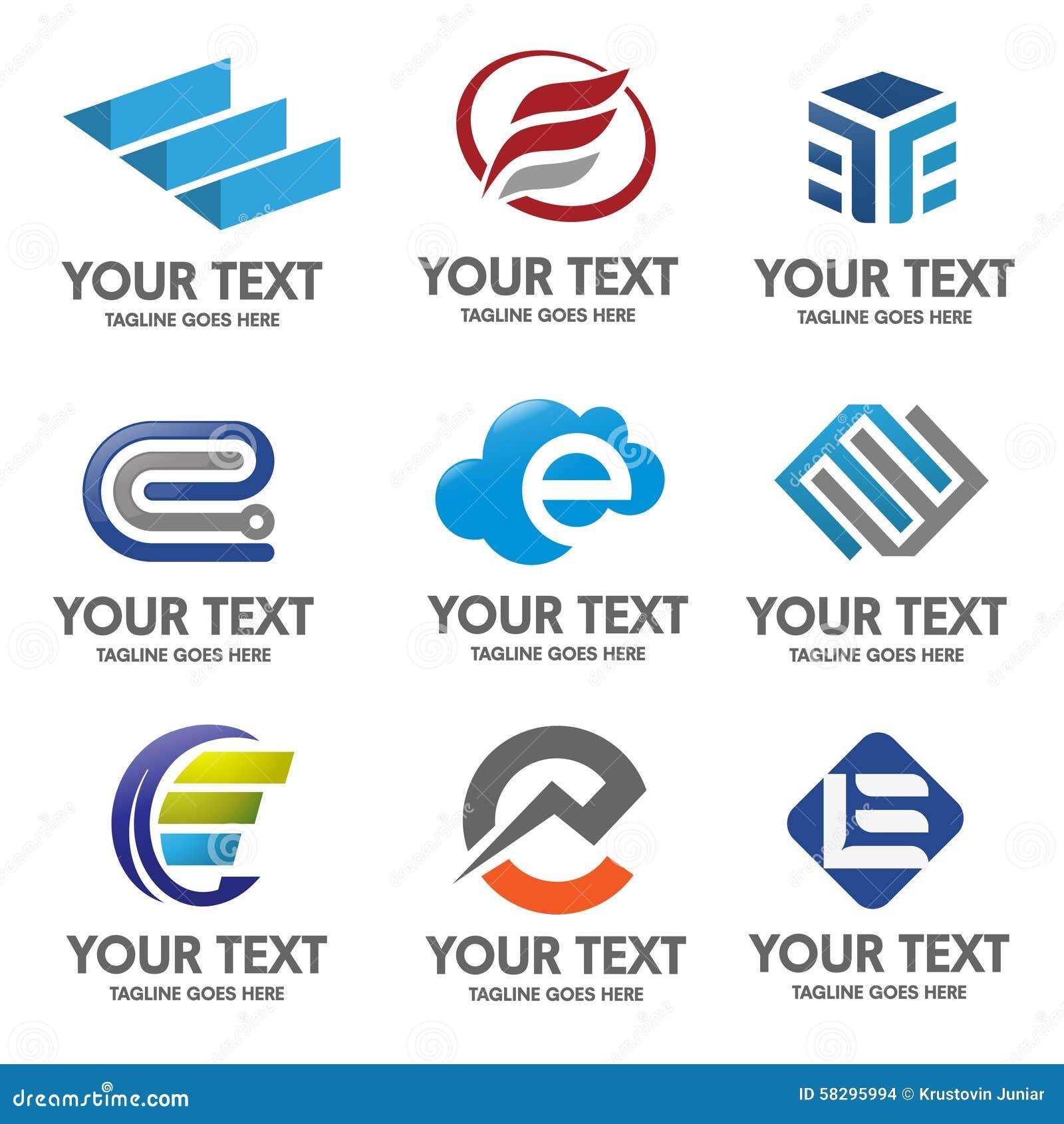 Διάνυσμα λογότυπων γραμμάτων Ε
