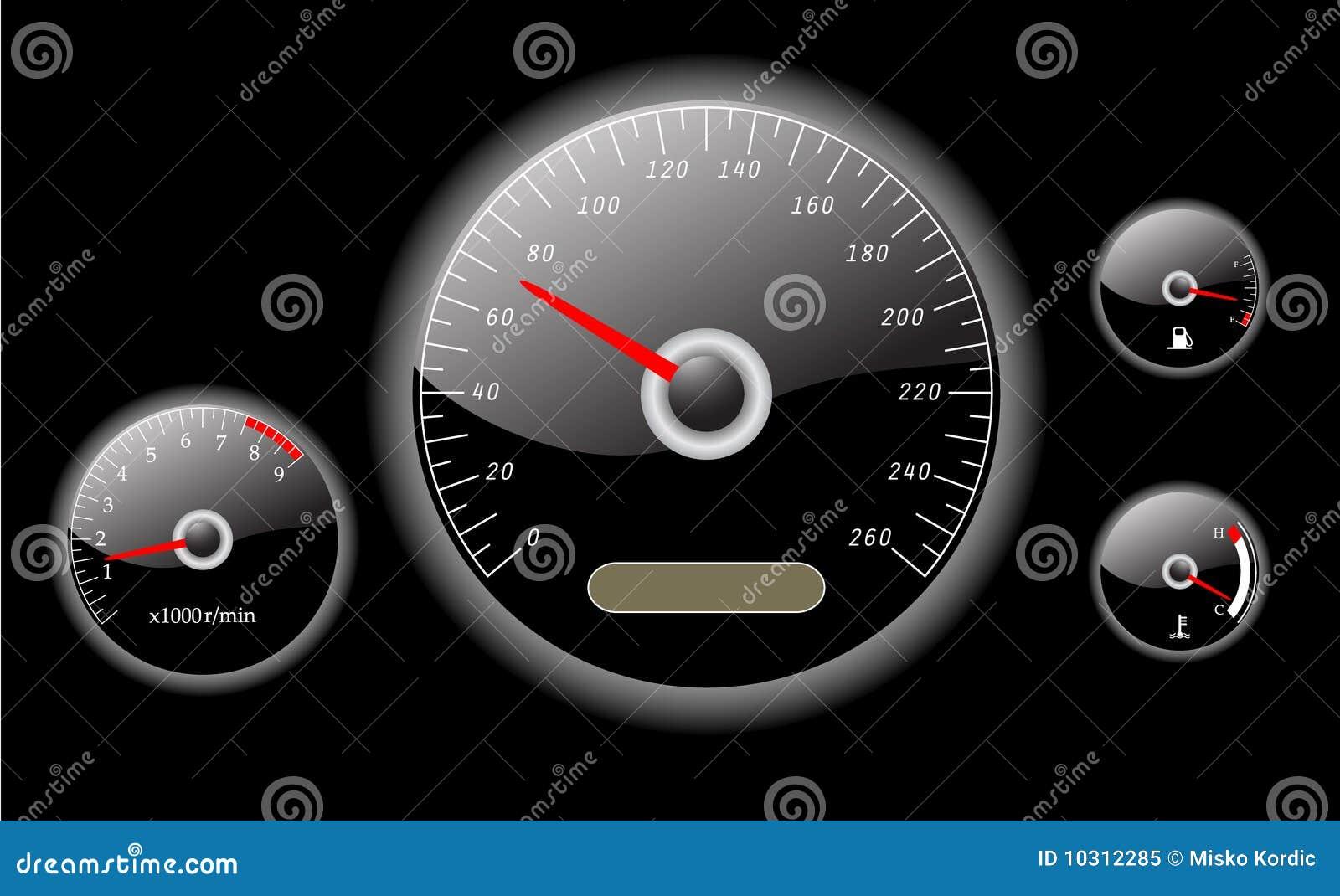 Διάνυσμα οργάνων ταμπλό αυτοκινήτων που διευκρινίζεται